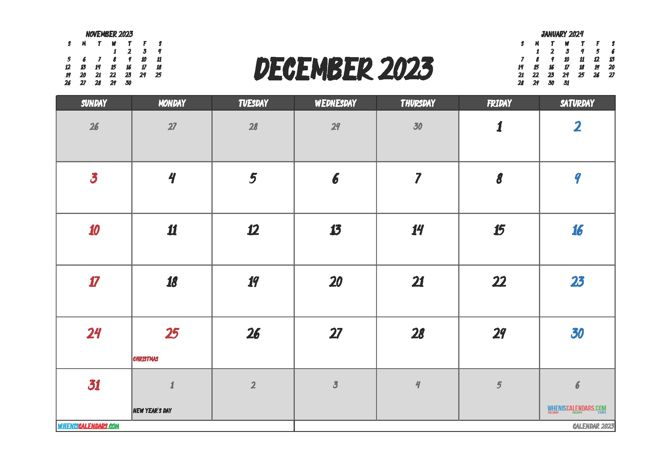 Free Editable Calendar December 2023 PDF