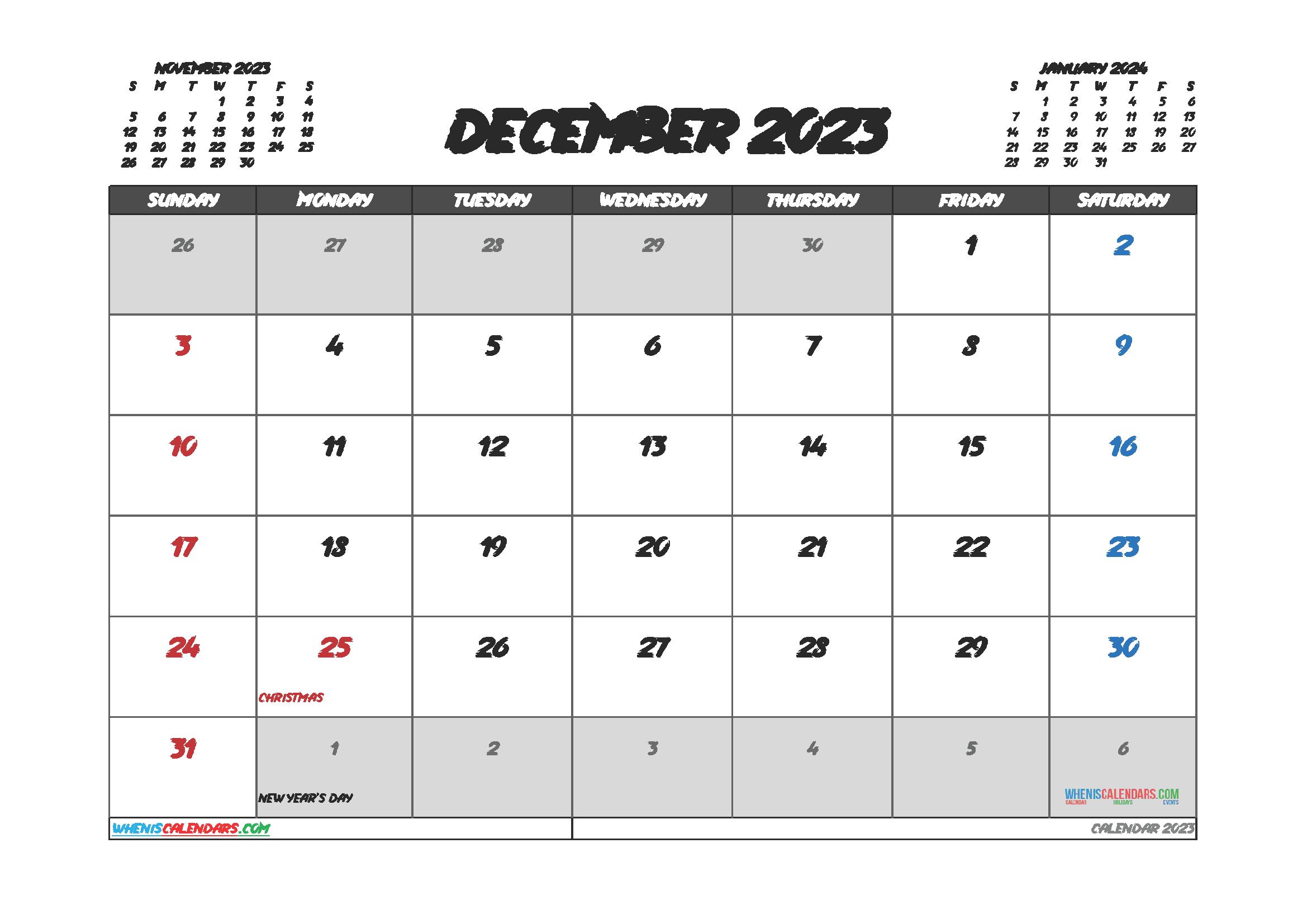 Printable December 2023 Calendar Free