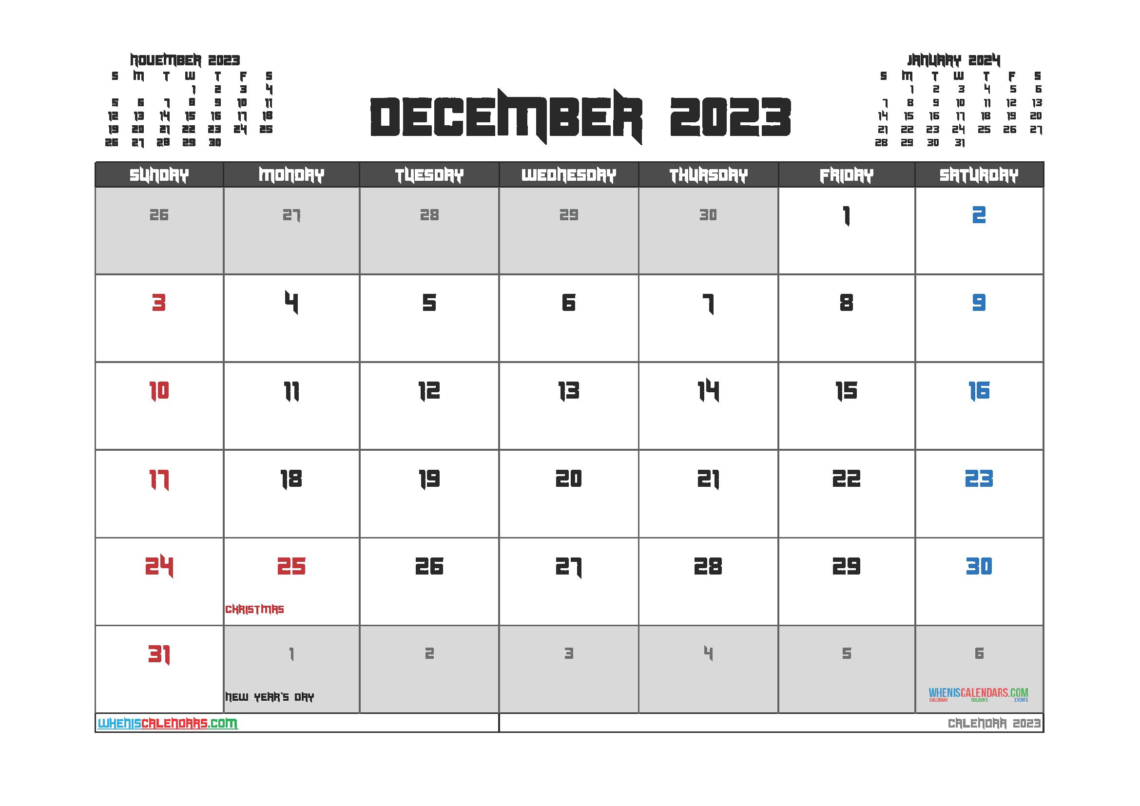 Free Printable Calendar December 2023