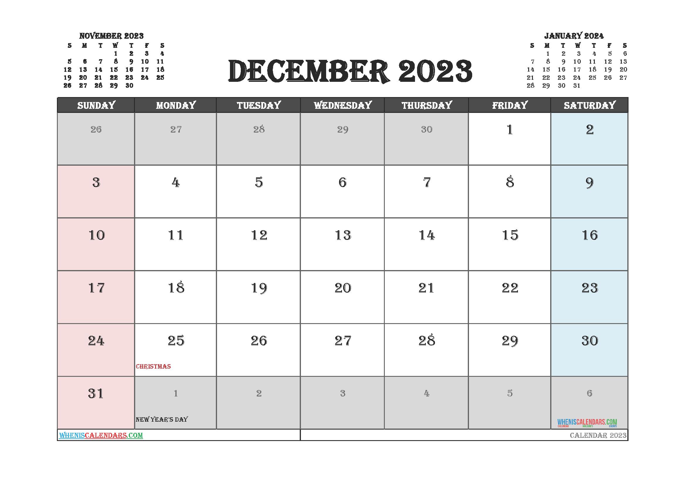 December 2023 Calendar Printable For Free