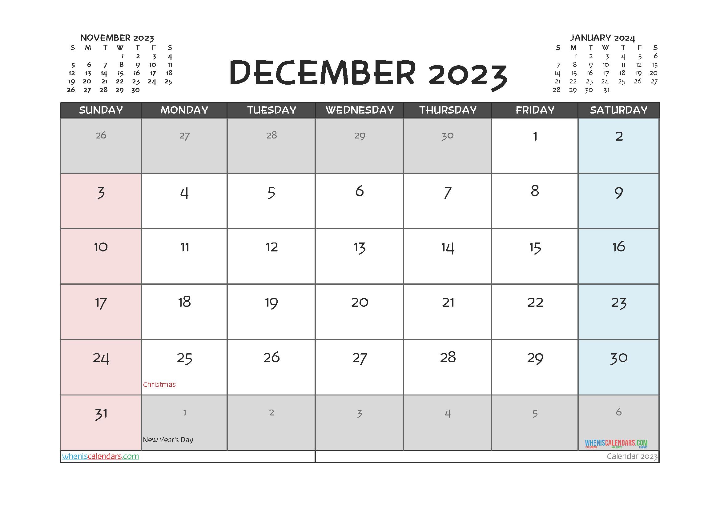 December 2023 Free Calendar Printable