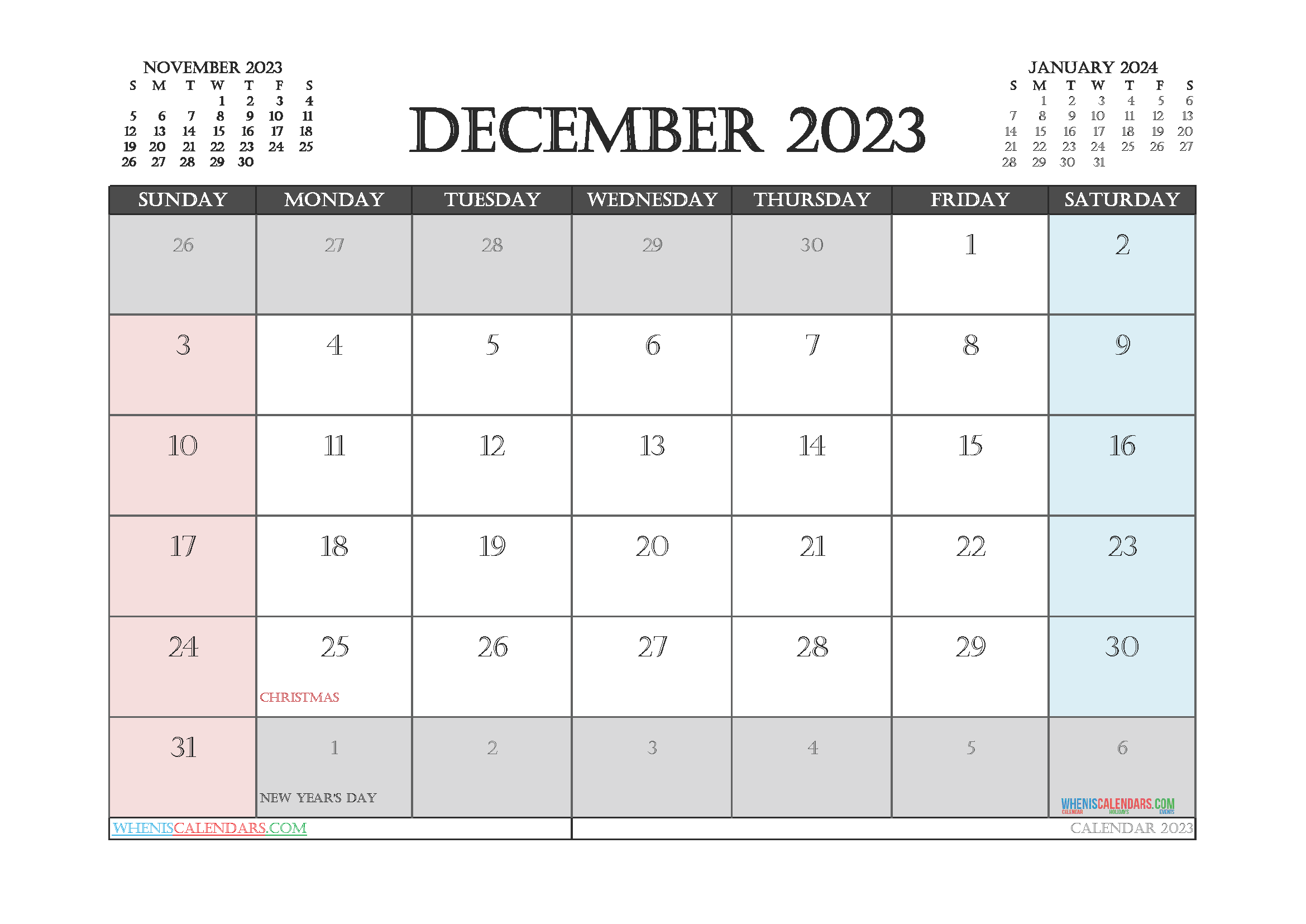 Editable December 2023 Calendar Printable