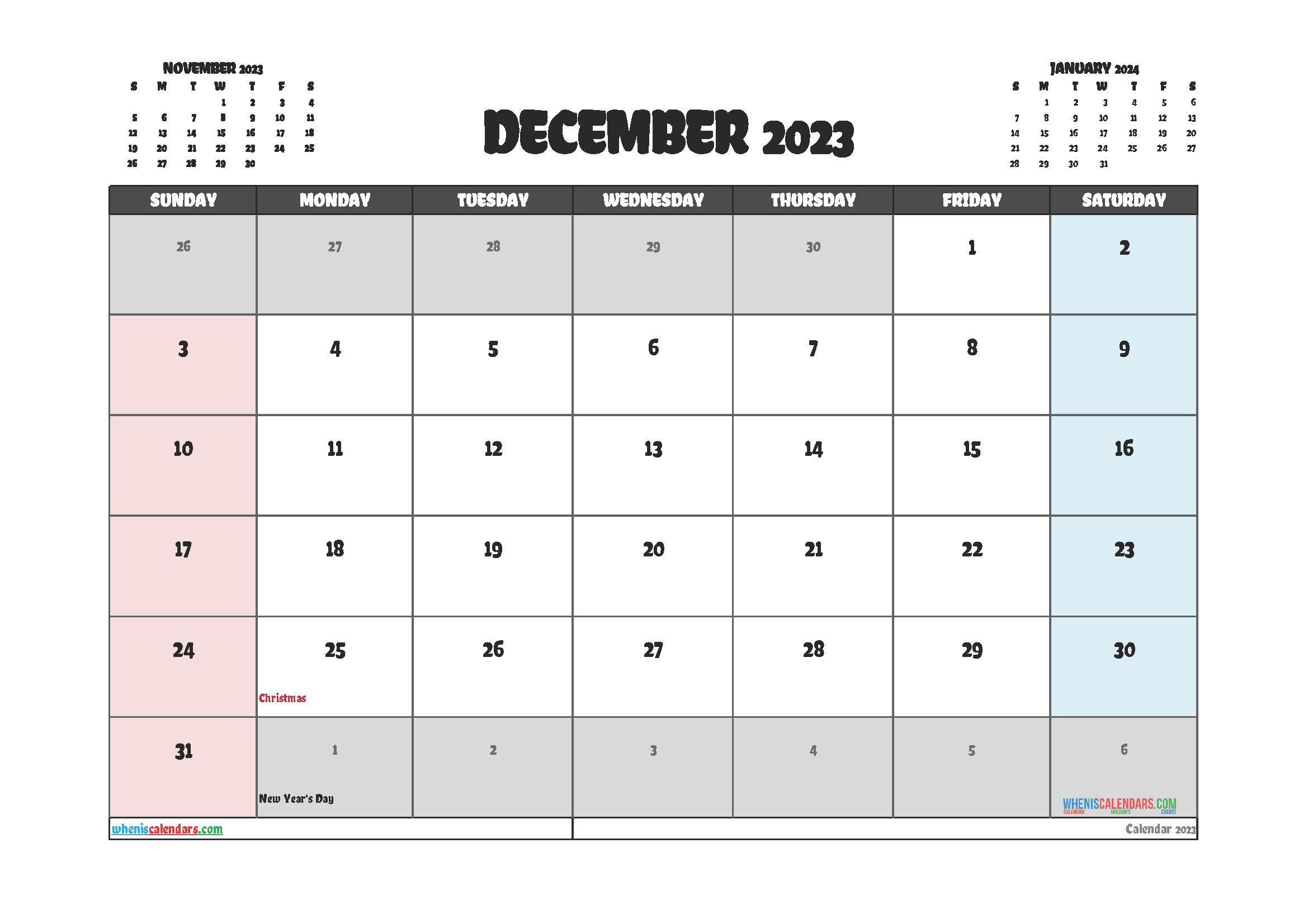 Free Editable December 2023 Printable Calendar