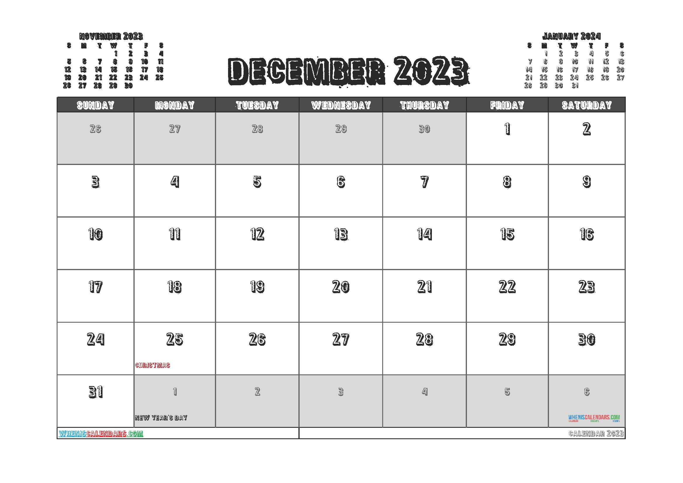 Printable Calendar December 2023 Free