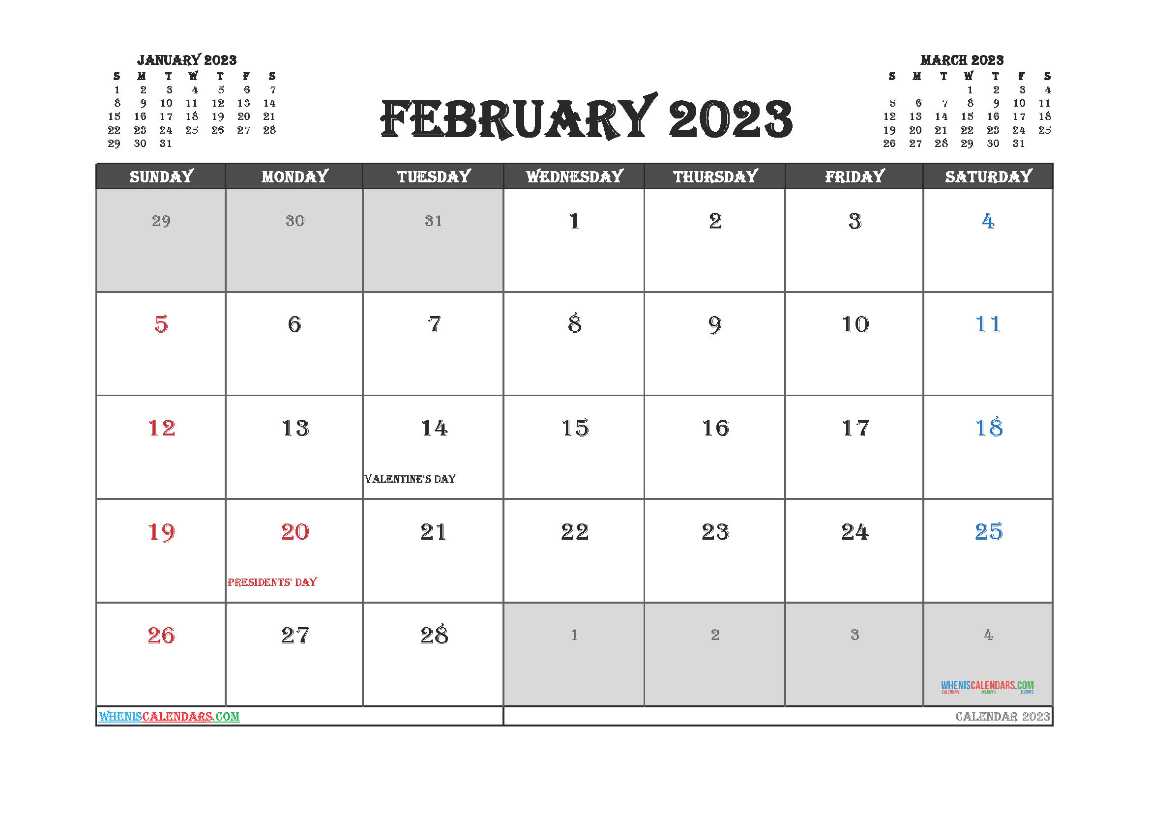 Free Editable February 2023 Calendar