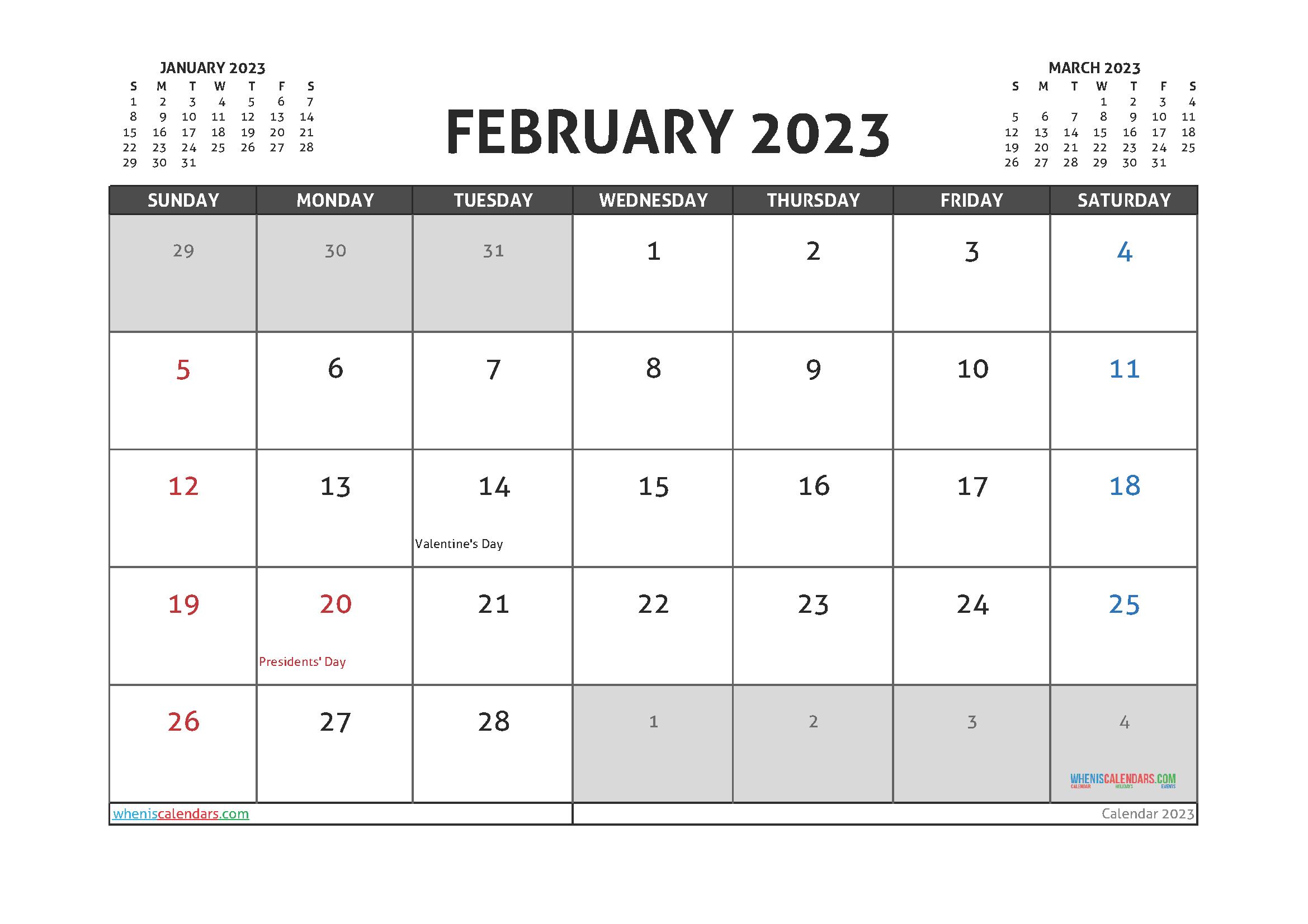 Editable February 2023 Calendar Printable