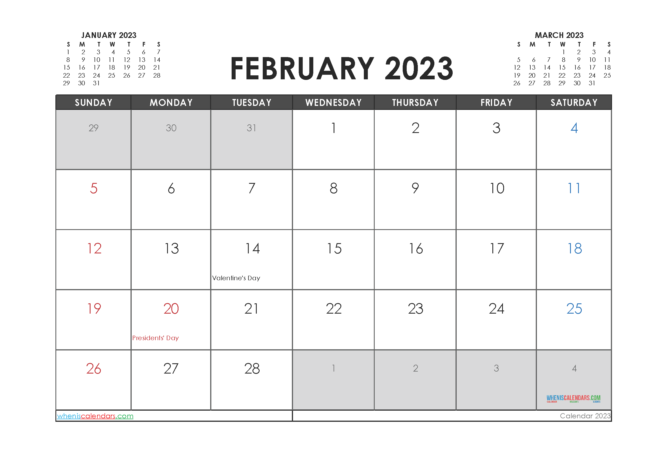 Free Printable Calendar February 2023