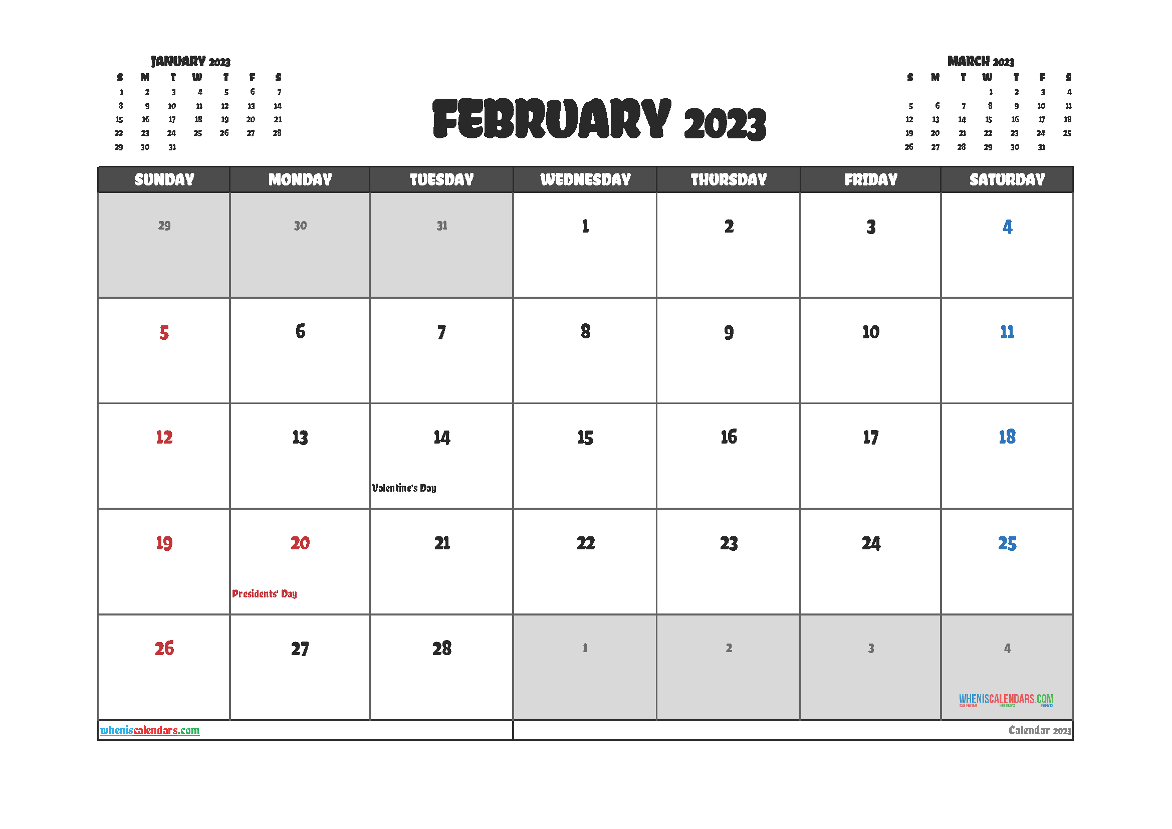 February 2023 Calendar Printable Free