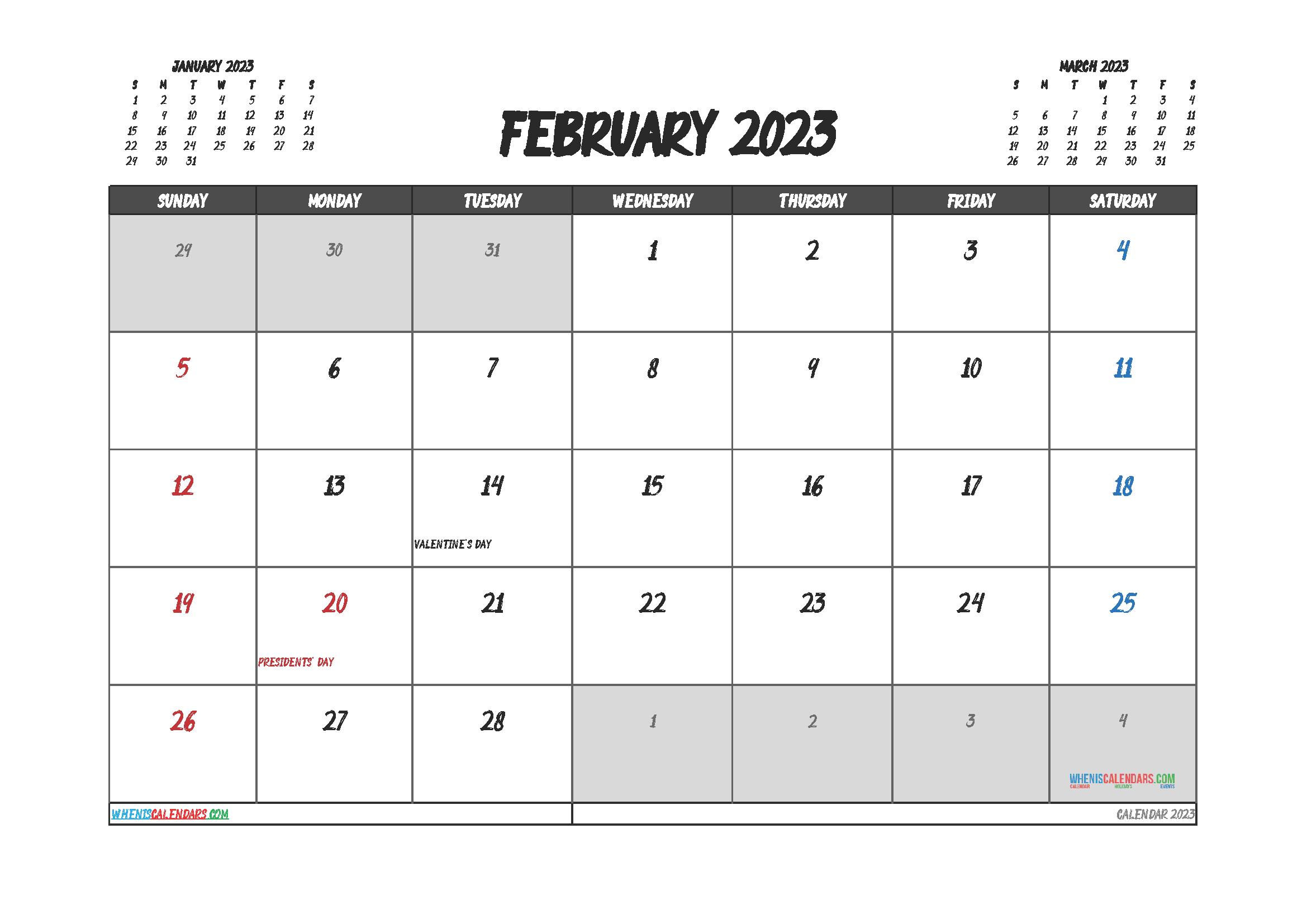 Free Editable Calendar February 2023 PDF