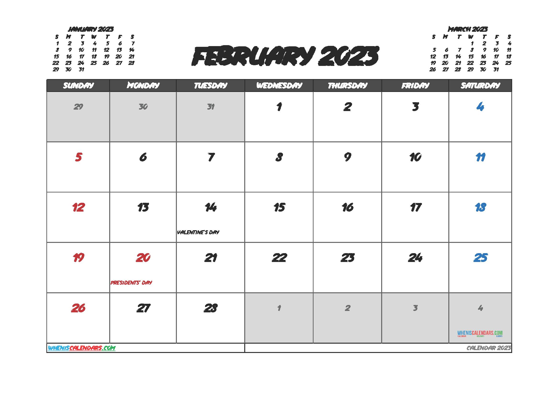 Free Editable February 2023 Printable Calendar