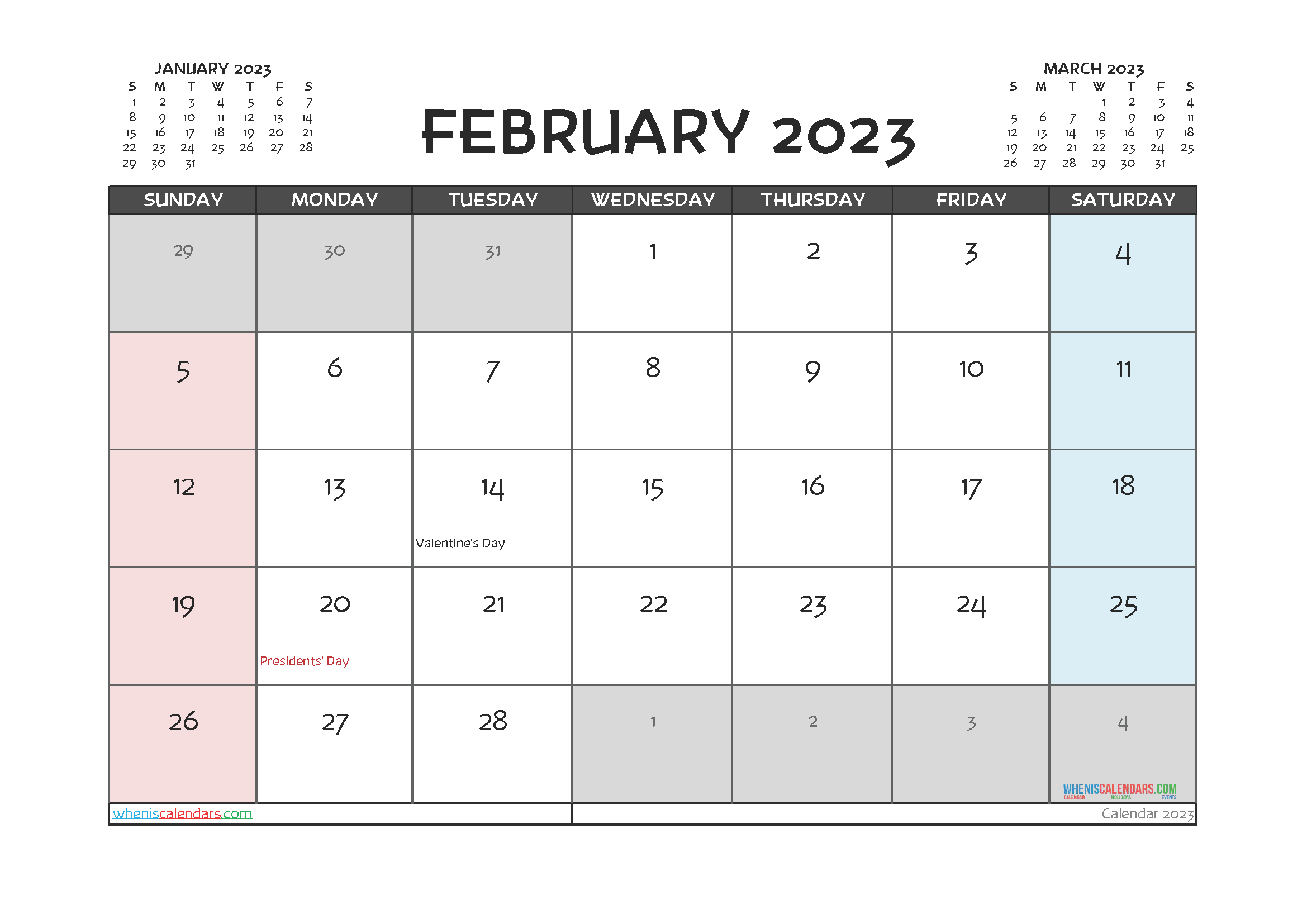 February 2023 Free Calendar Printable