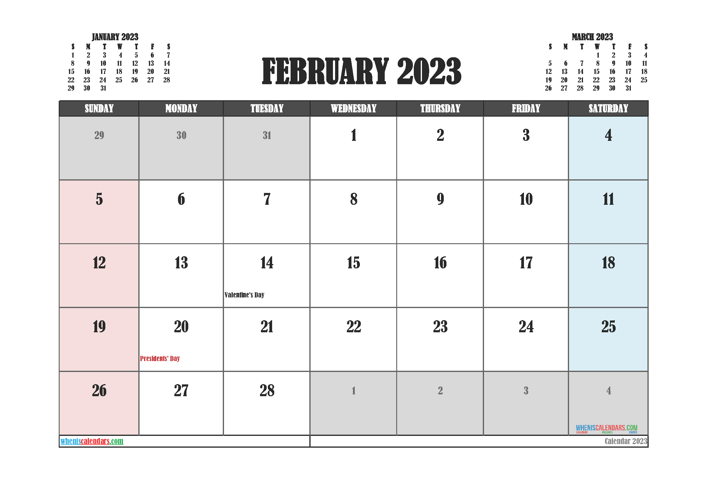 February 2023 Calendar Printable For Free