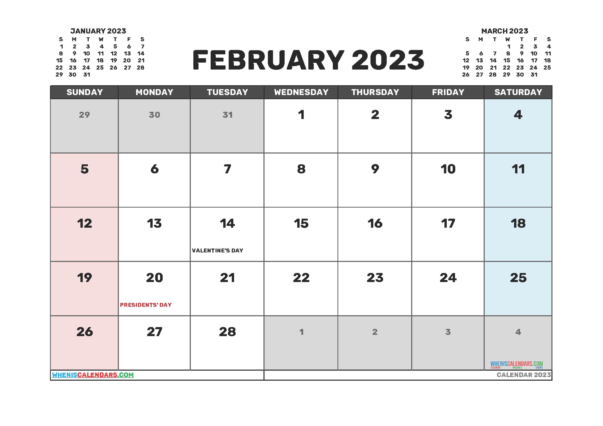 Printable Calendar February 2023 Free
