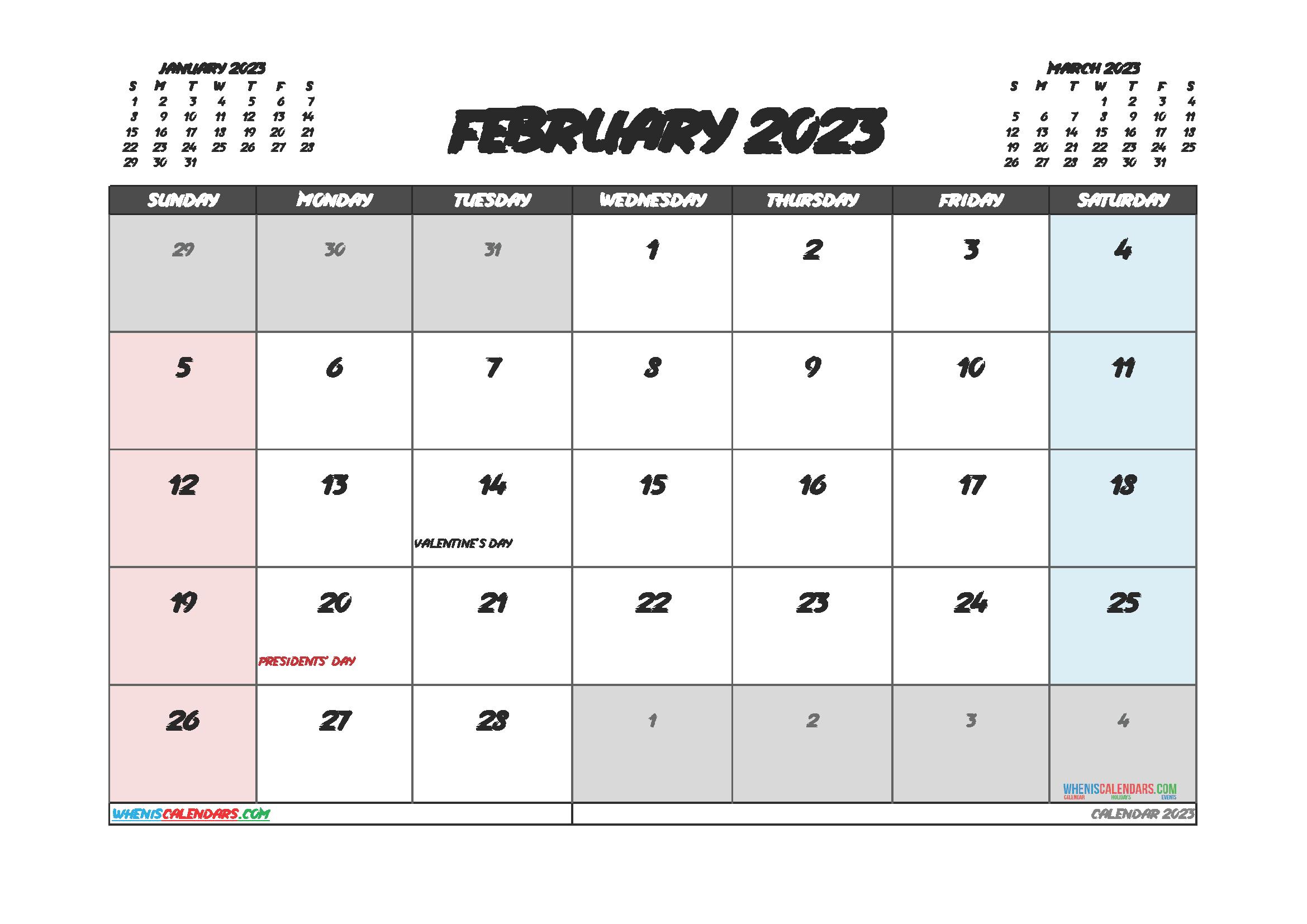 Free Printable February 2023 Calendar