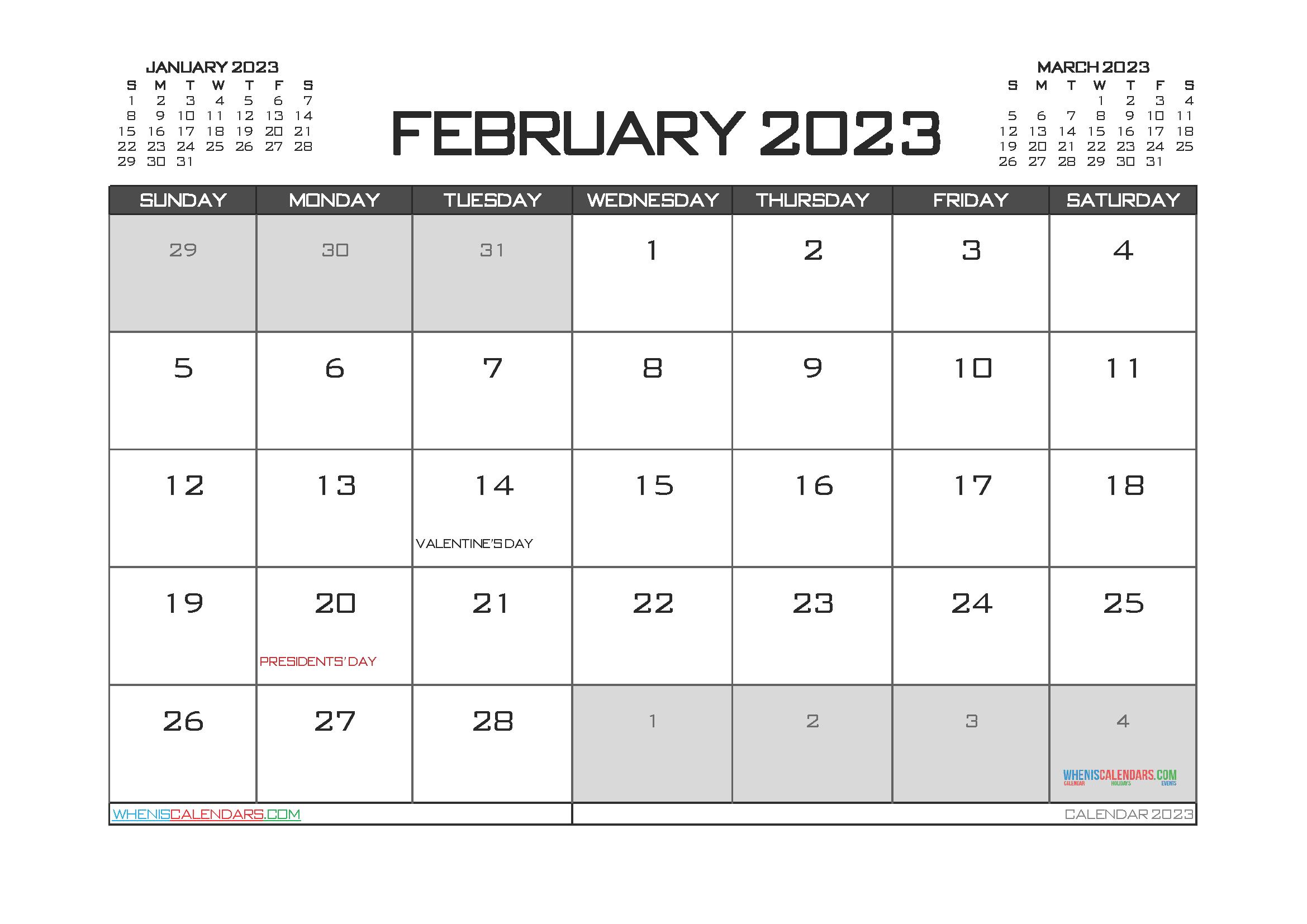 Printable February 2023 Calendar Free