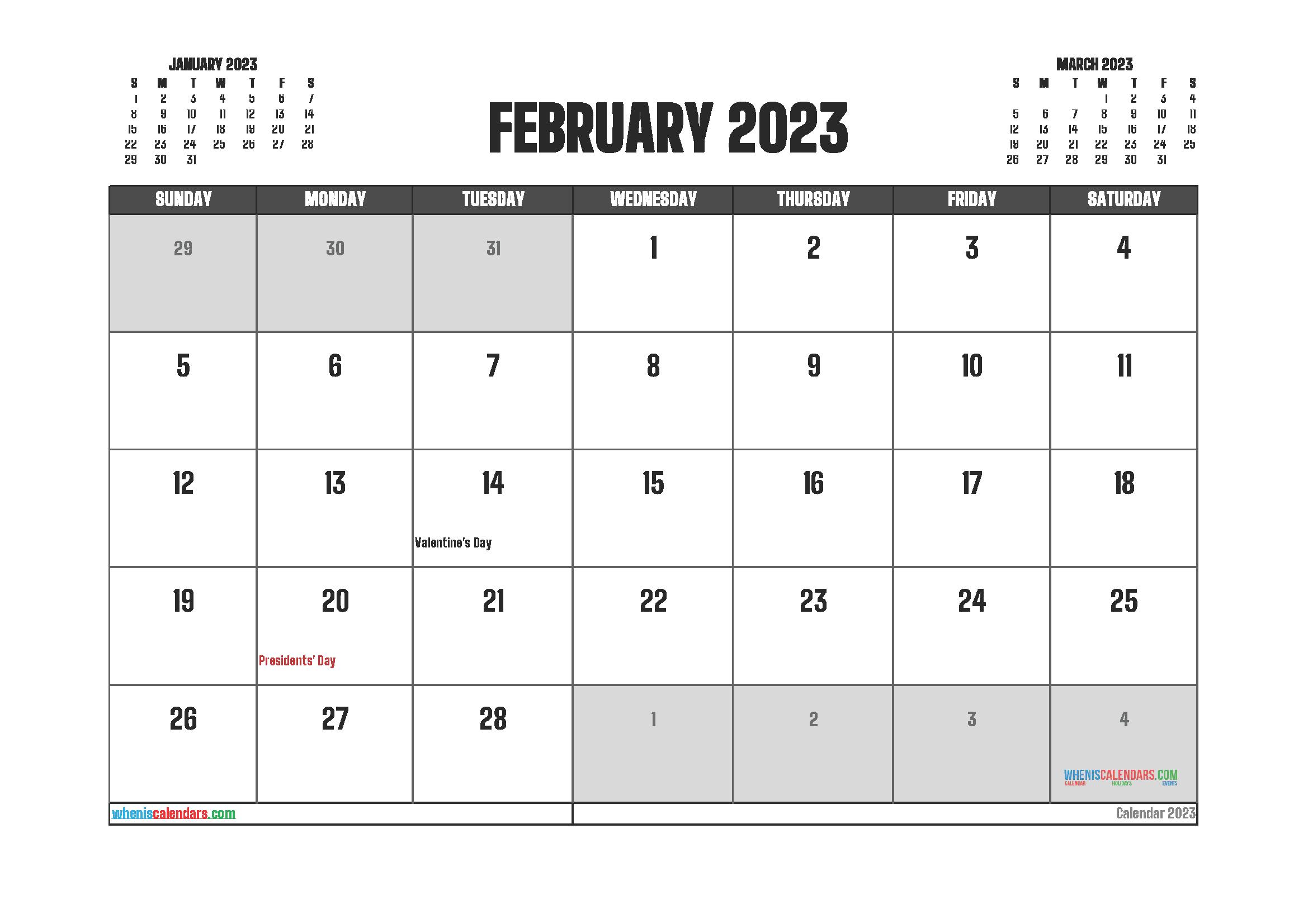 Free February 2023 Printable Calendar