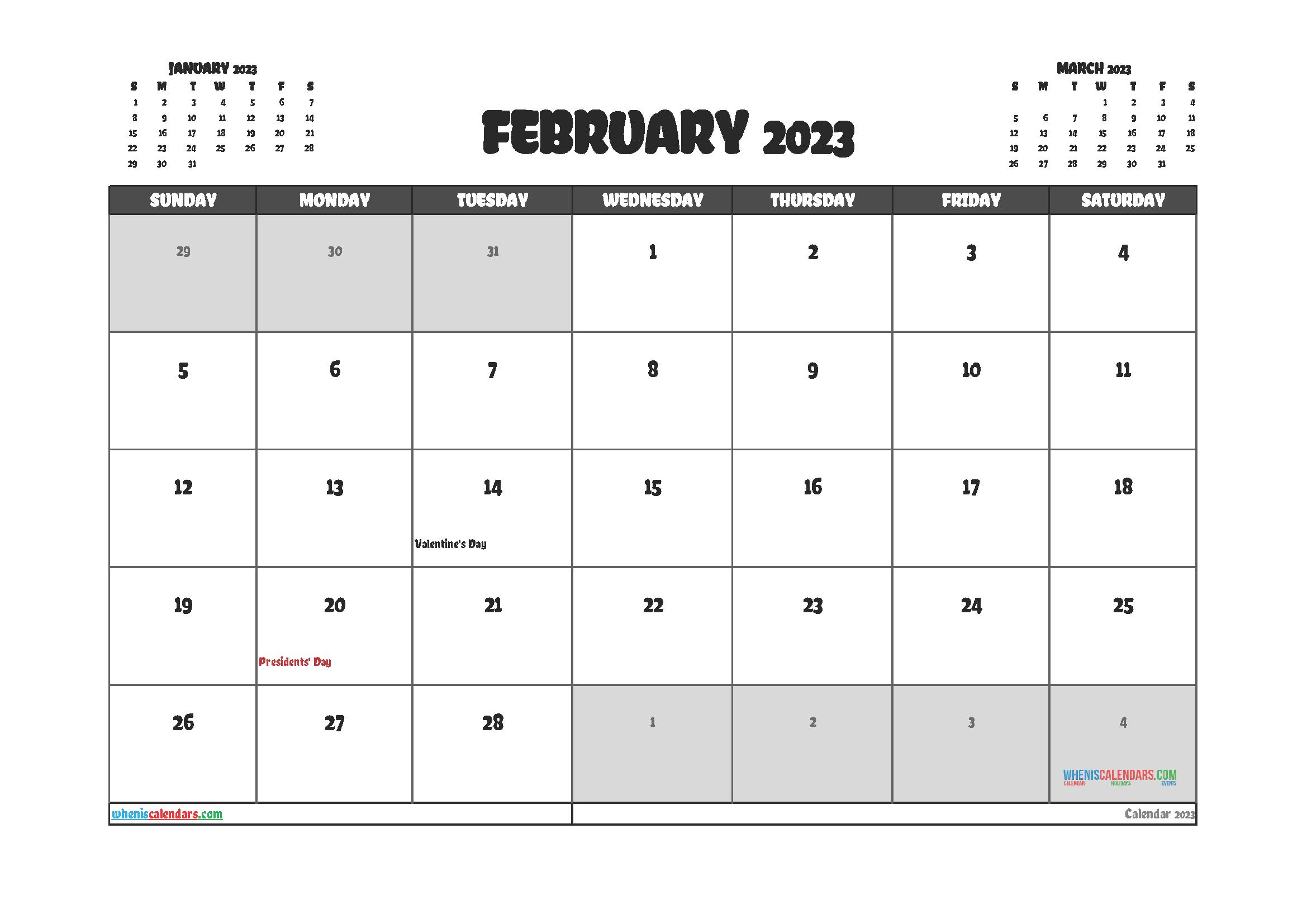 Editable Printable February 2023 Calendar