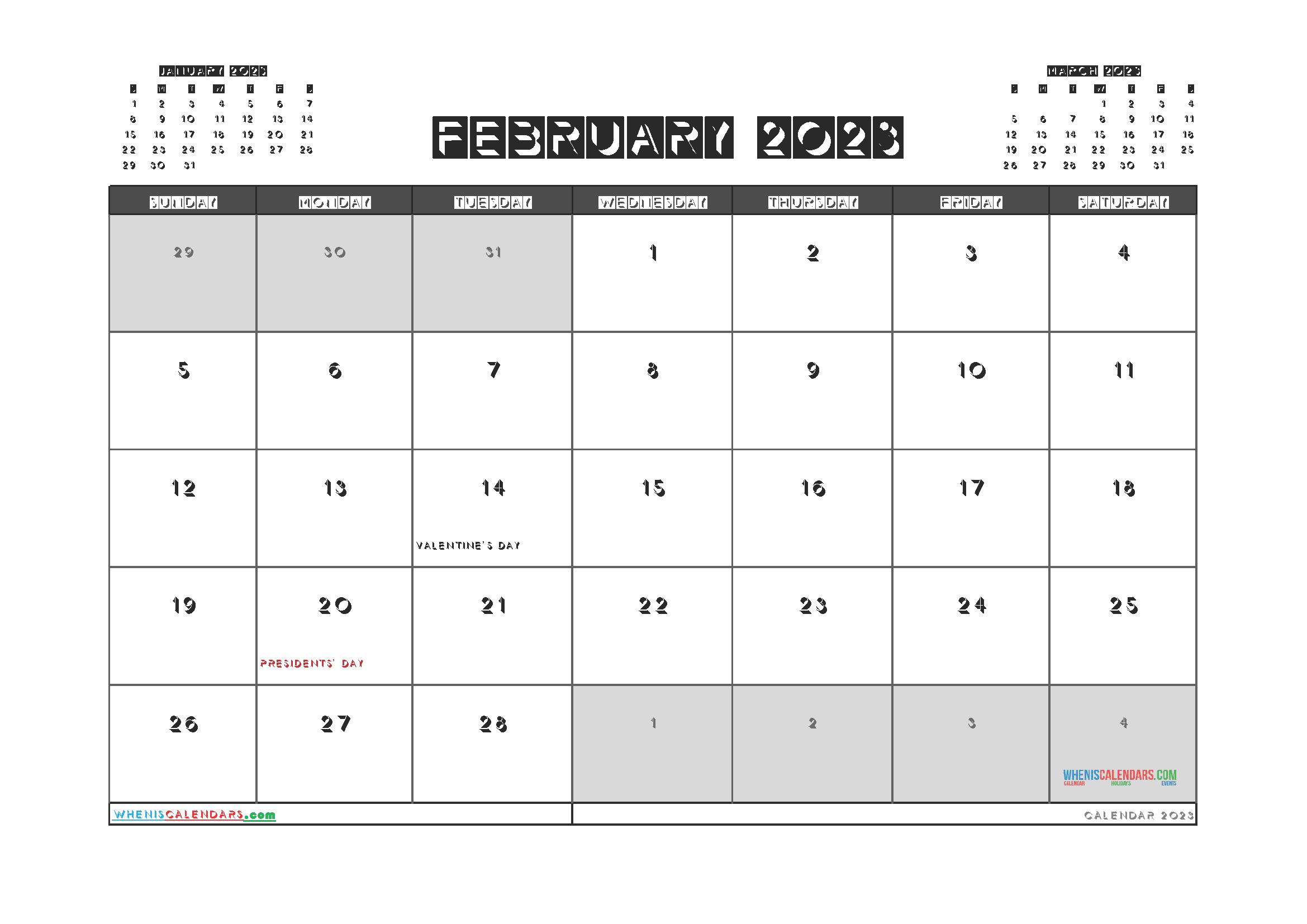 Printable February 2023 Calendar PDF