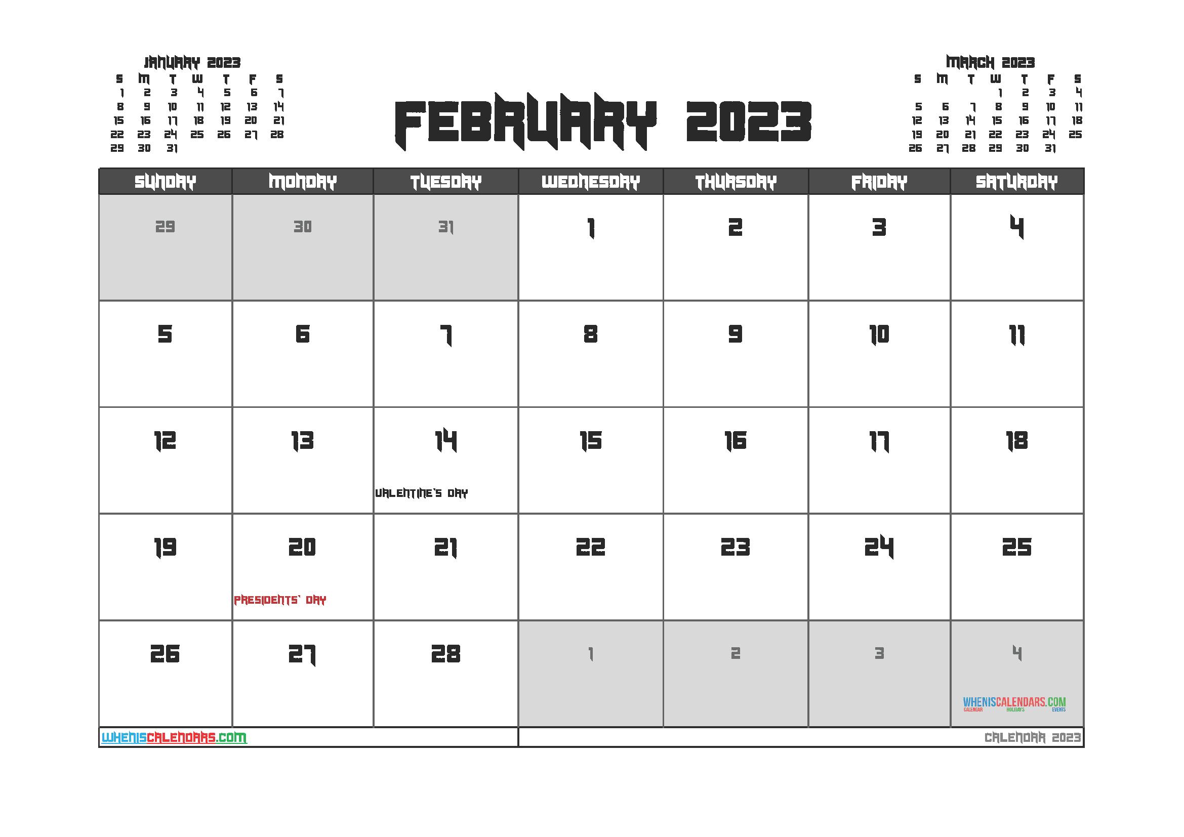 Free February 2023 Printable Calendar PDF
