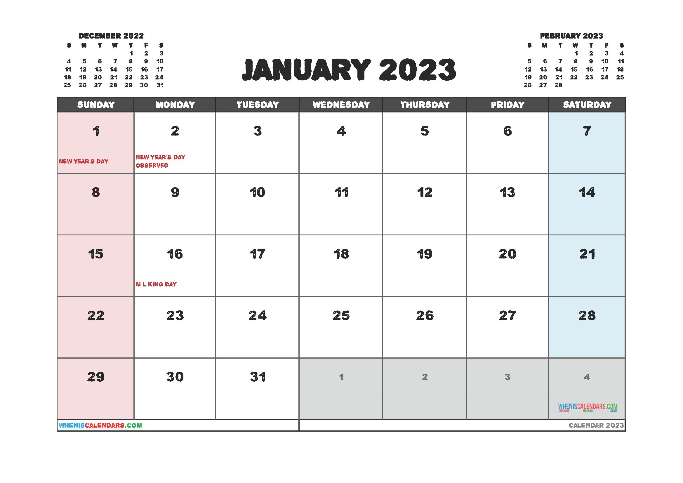 Printable Calendar January 2023 Free