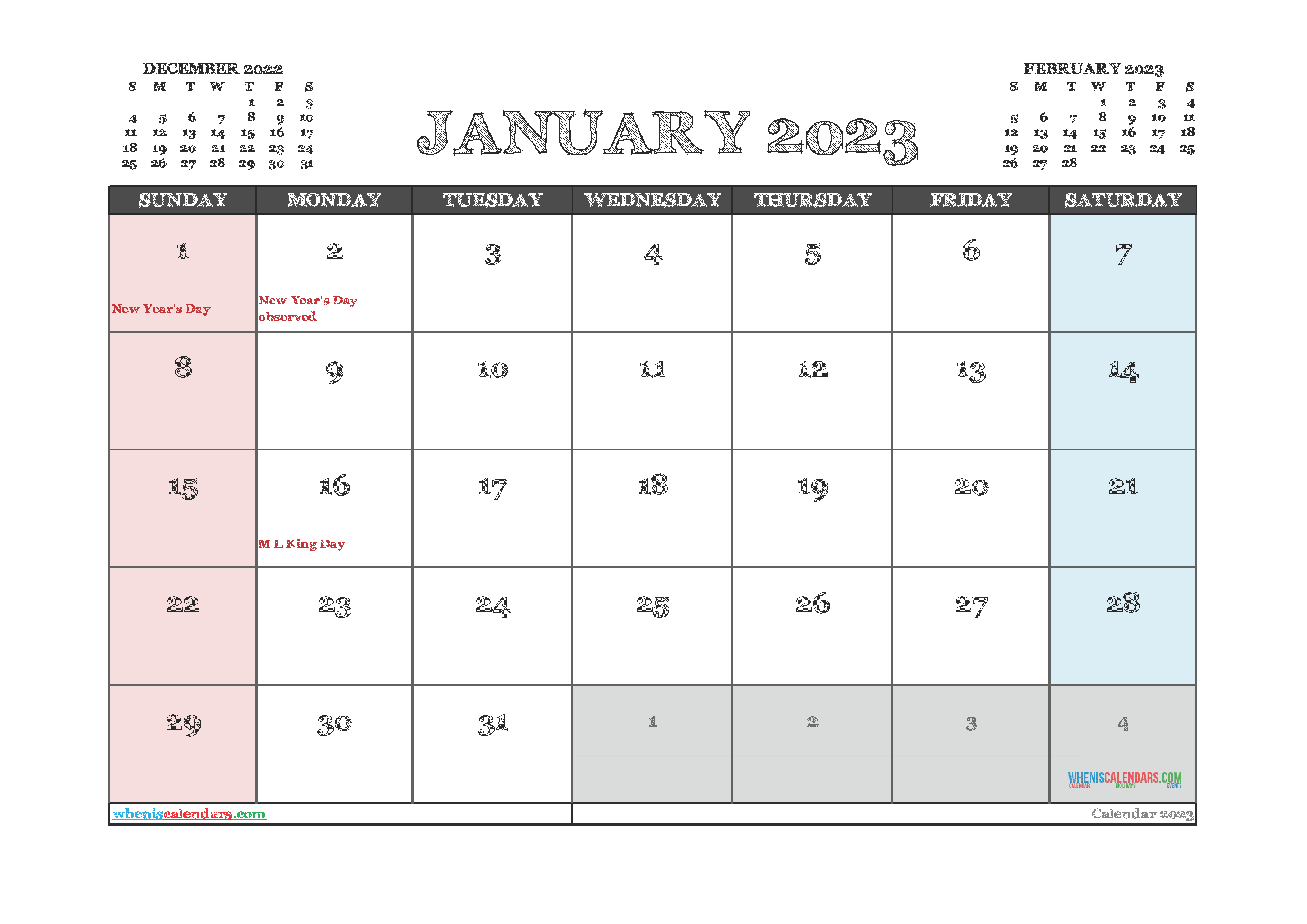 Free Editable January 2023 Calendar