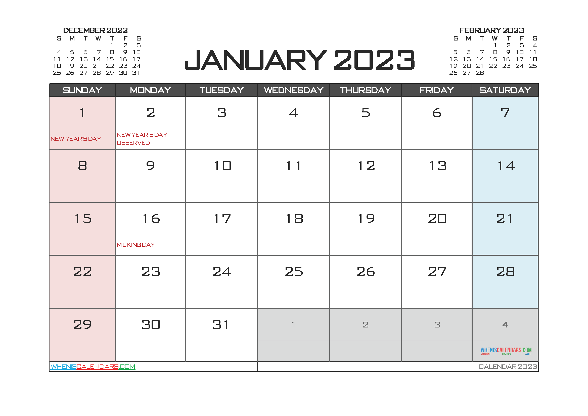 Free Editable January 2023 Printable Calendar