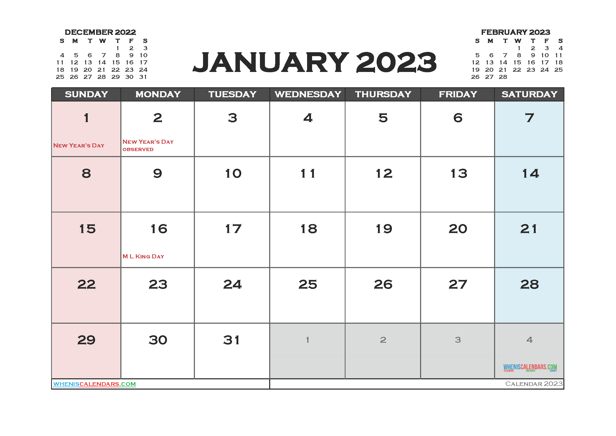January 2023 Calendar Printable For Free