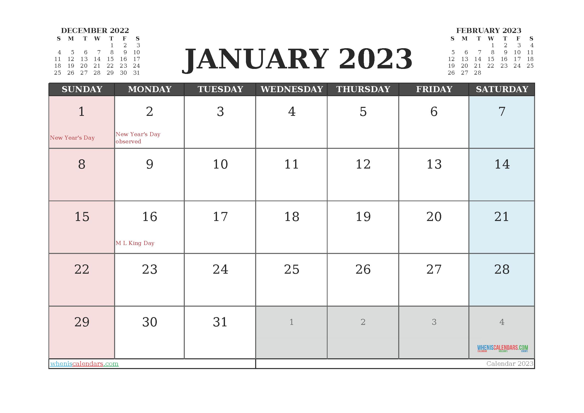 Editable Printable January 2023 Calendar