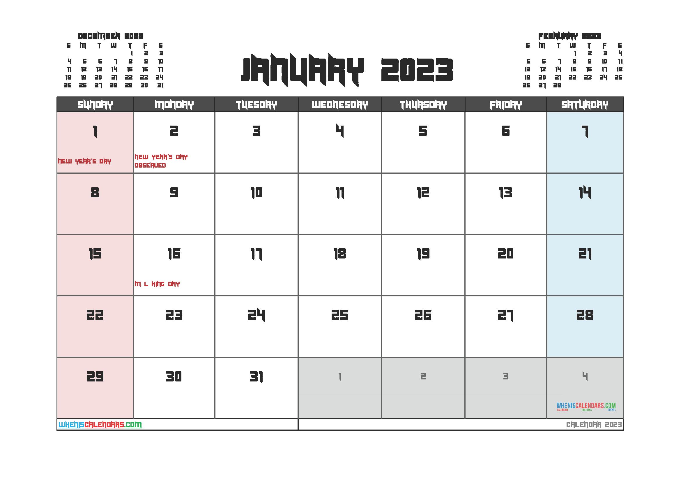 Free Editable Calendar January 2023 PDF