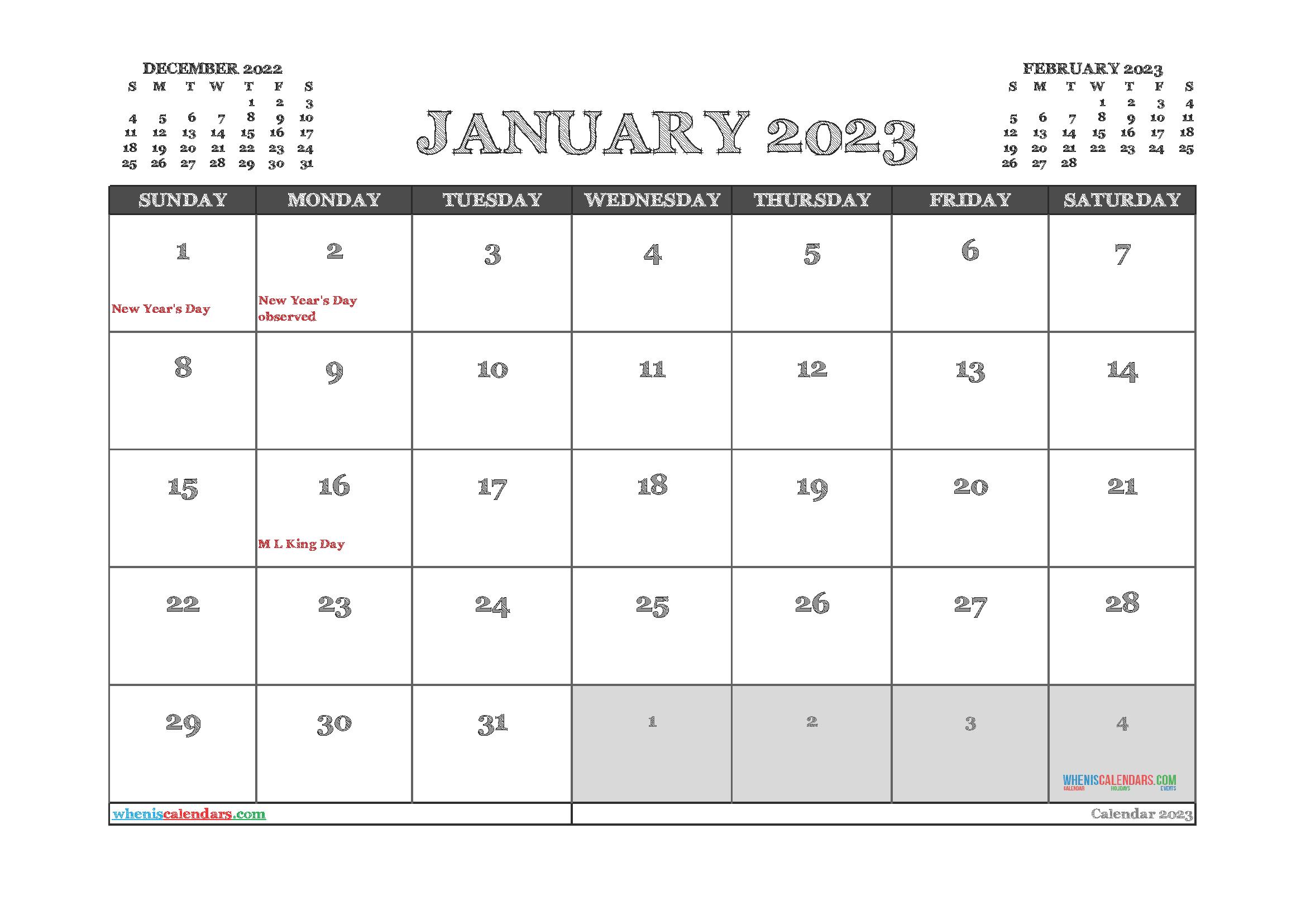 Free Printable January 2023 Calendar