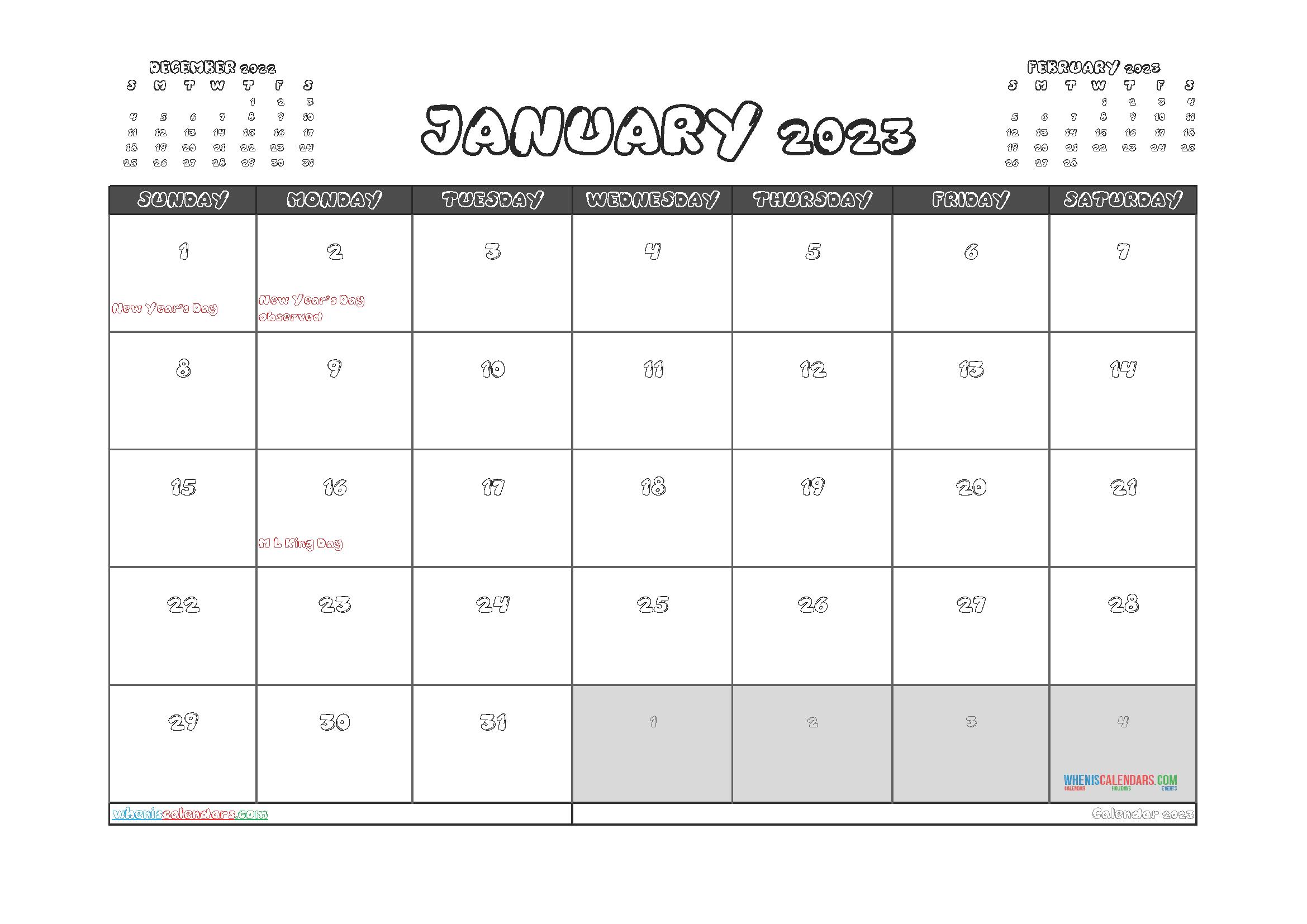 Free January 2023 Printable Calendar PDF