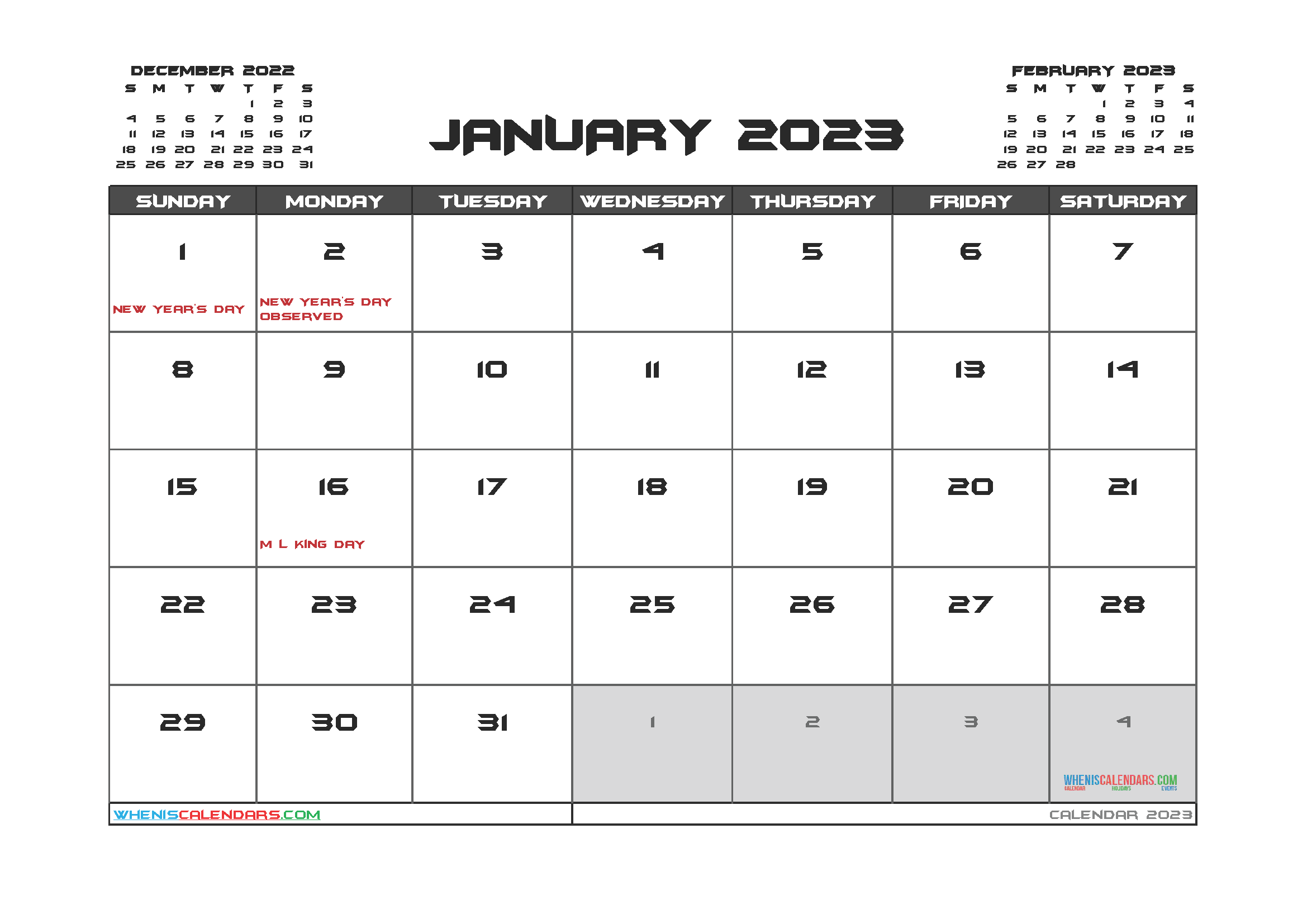 Editable January 2023 Calendar Printable