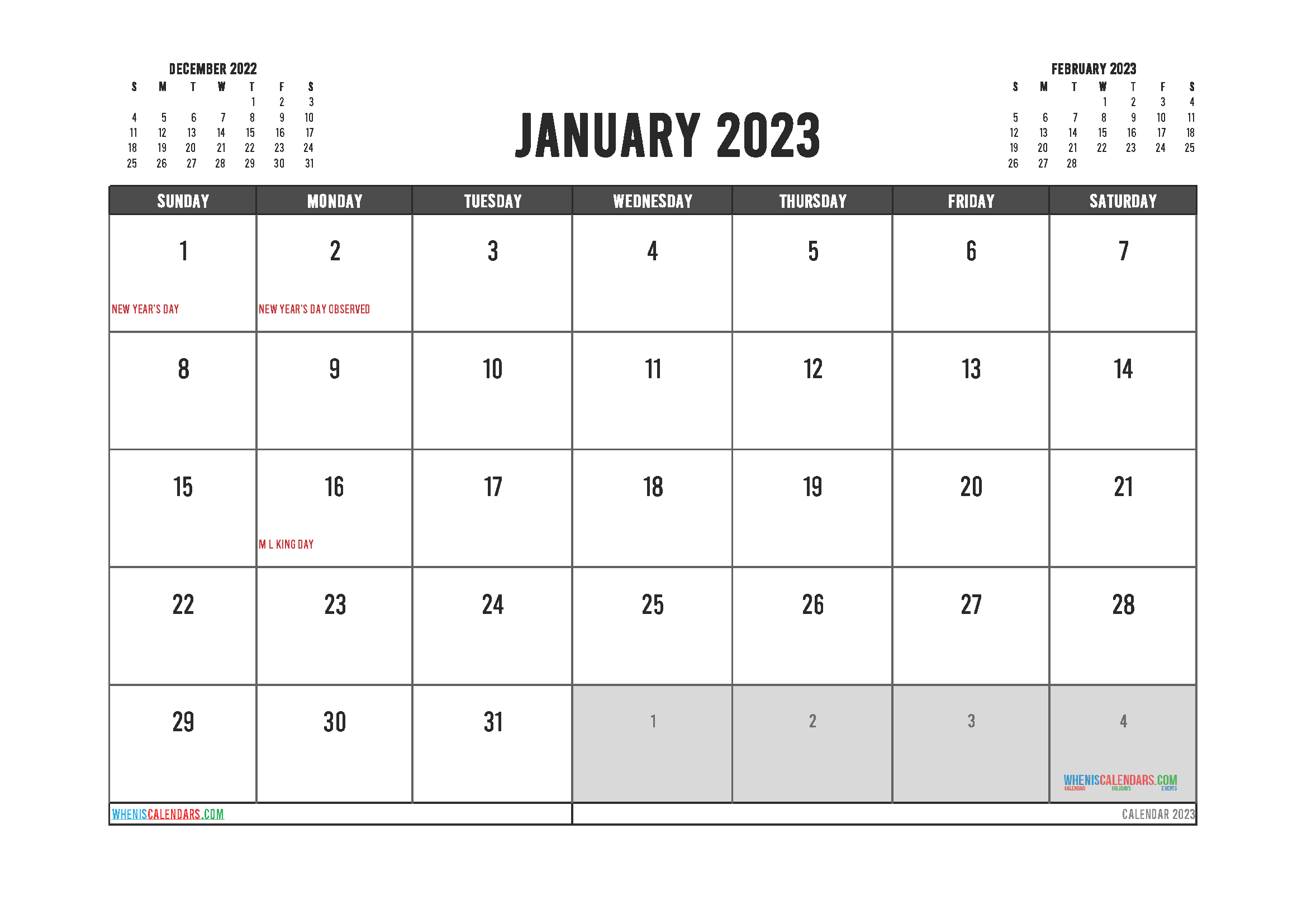 January 2023 Free Calendar Printable