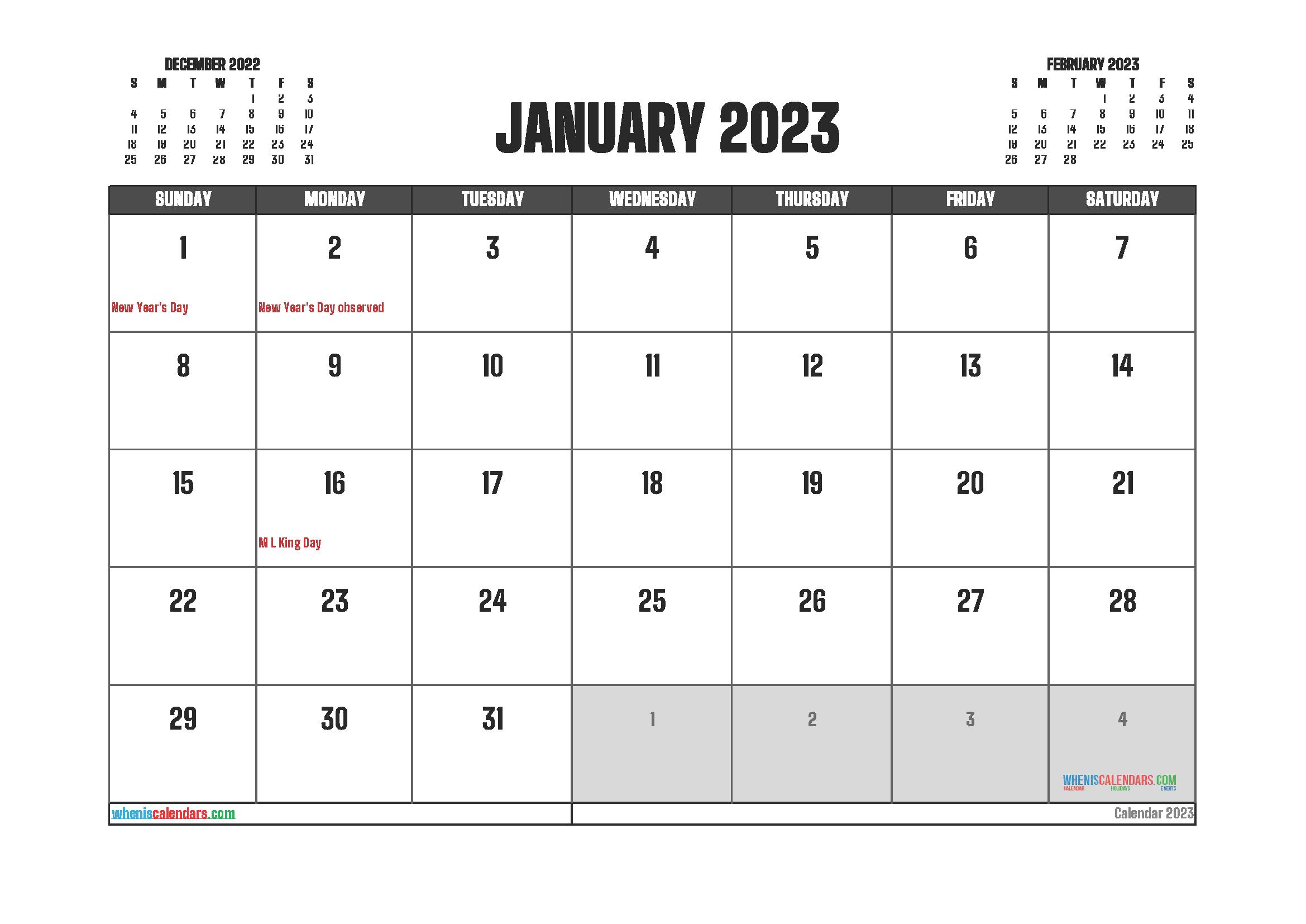 Free January 2023 Printable Calendar