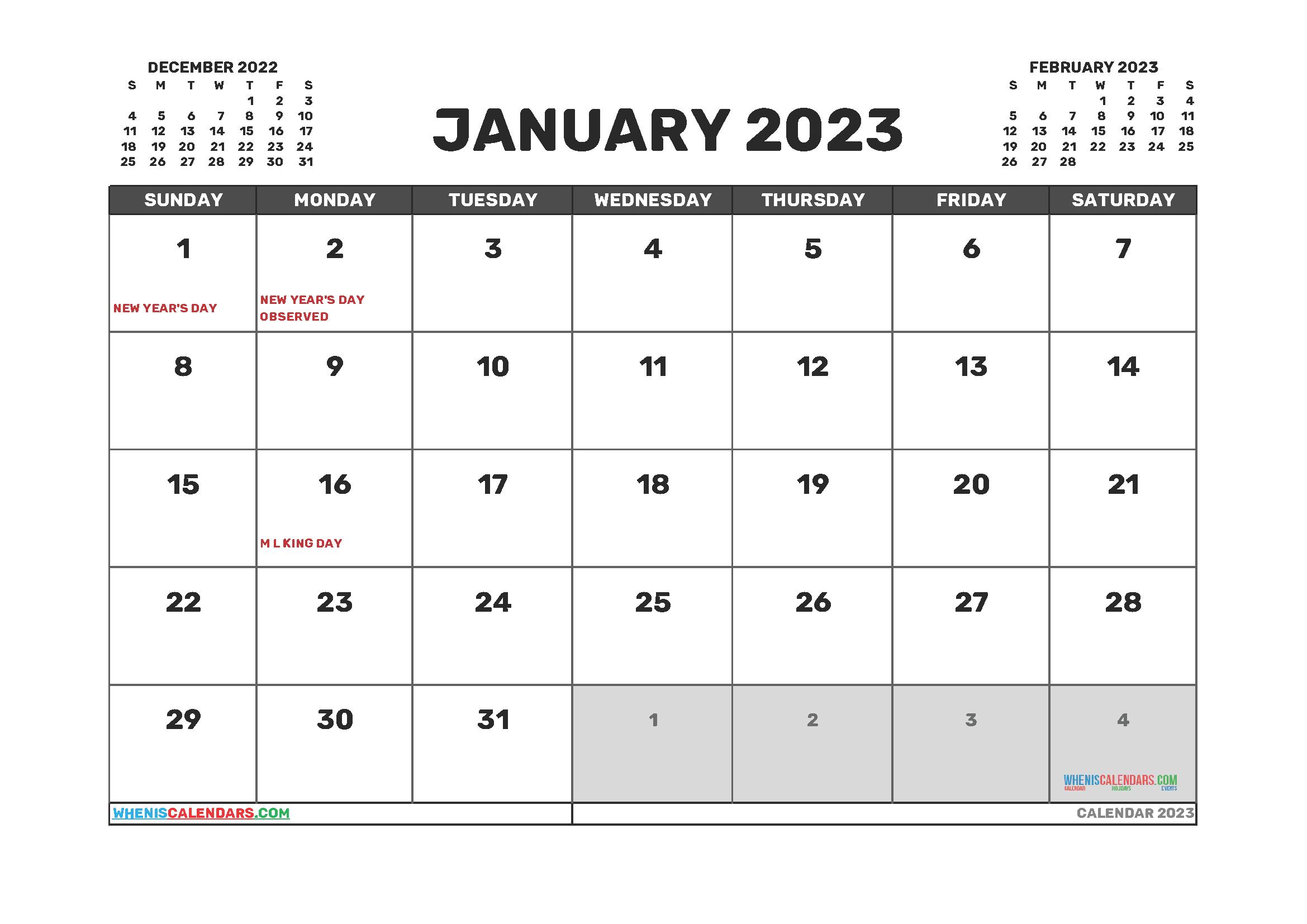 Free Printable Calendar January 2023