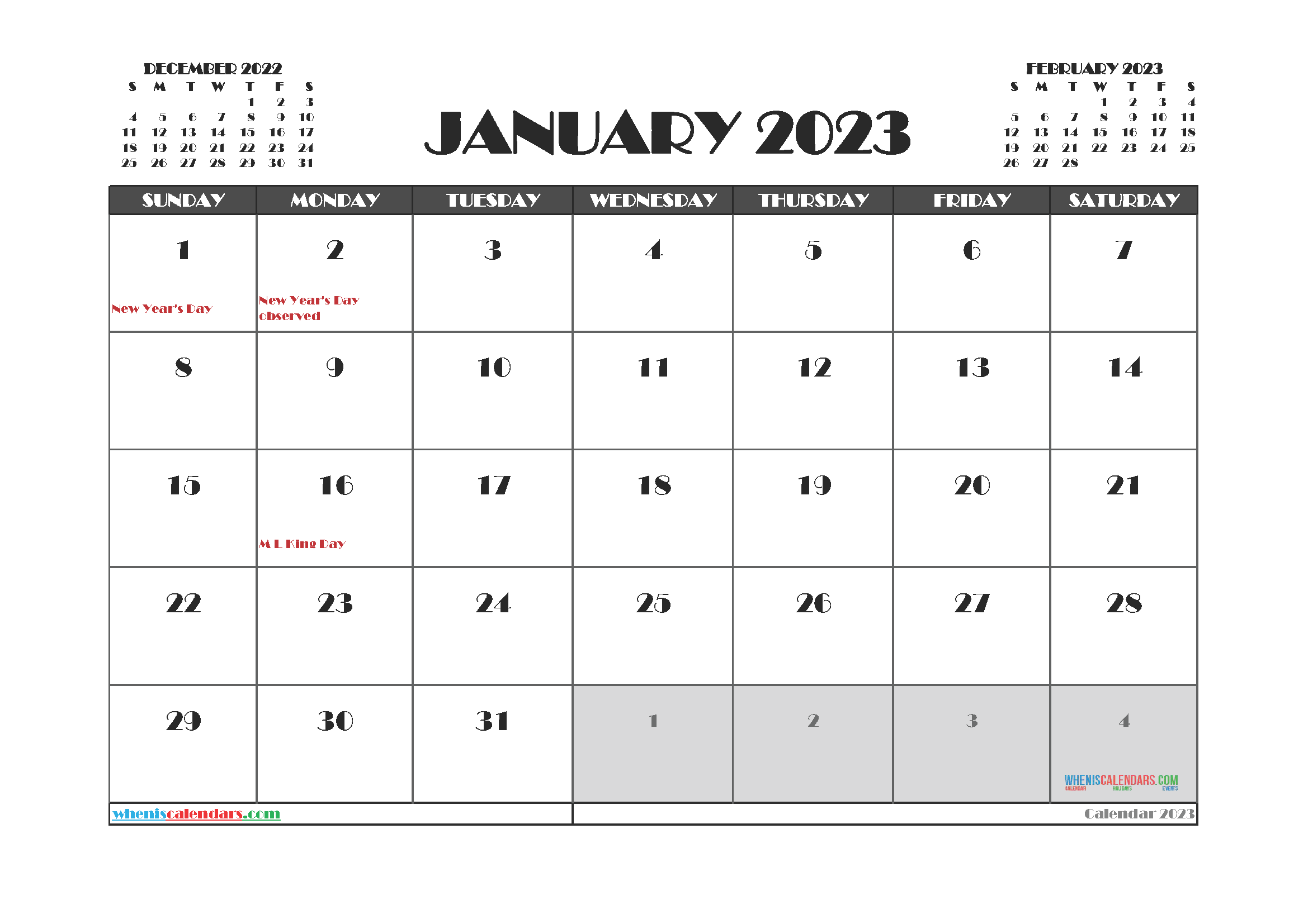 January 2023 Calendar Printable Free