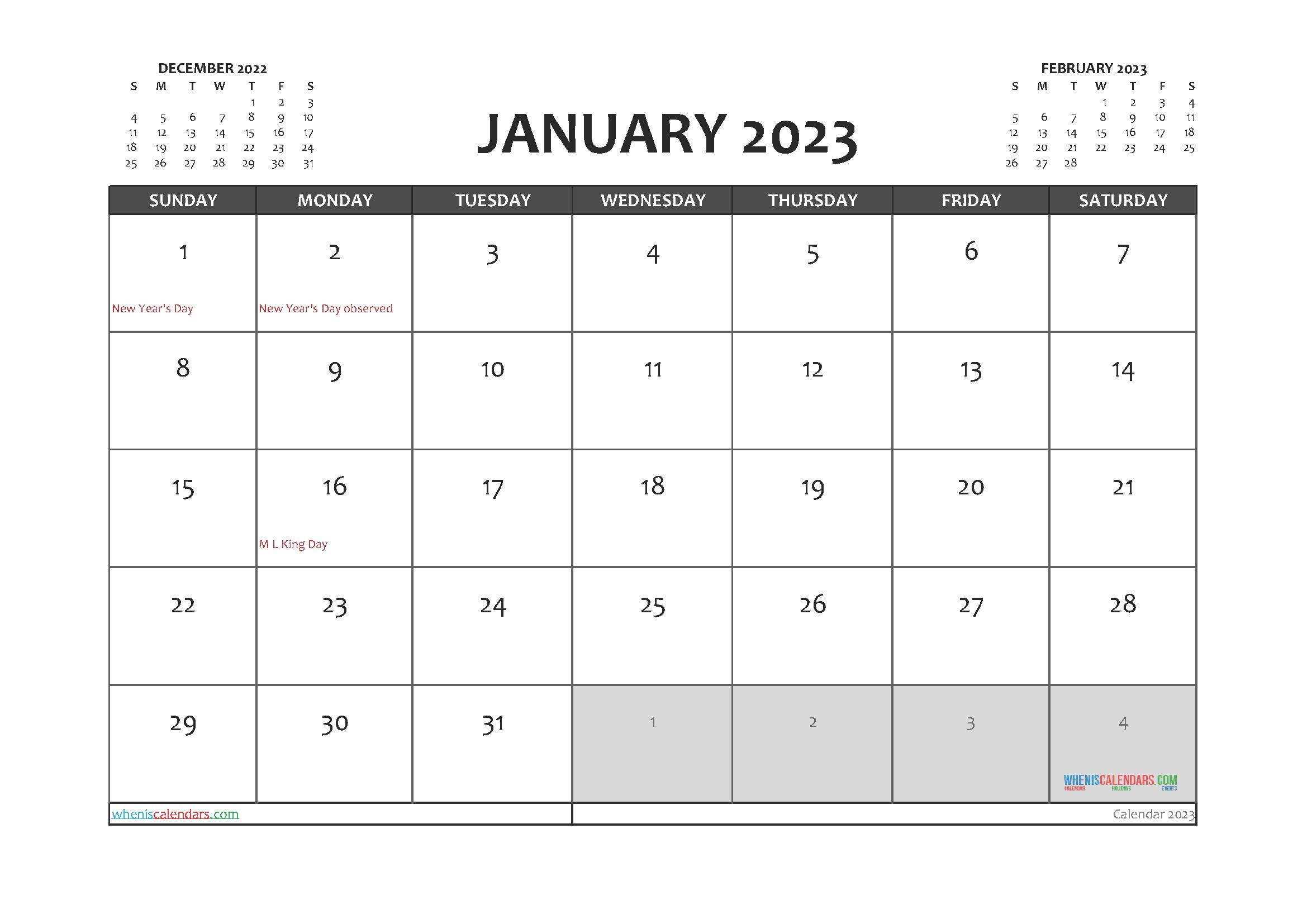 Printable January 2023 Calendar PDF