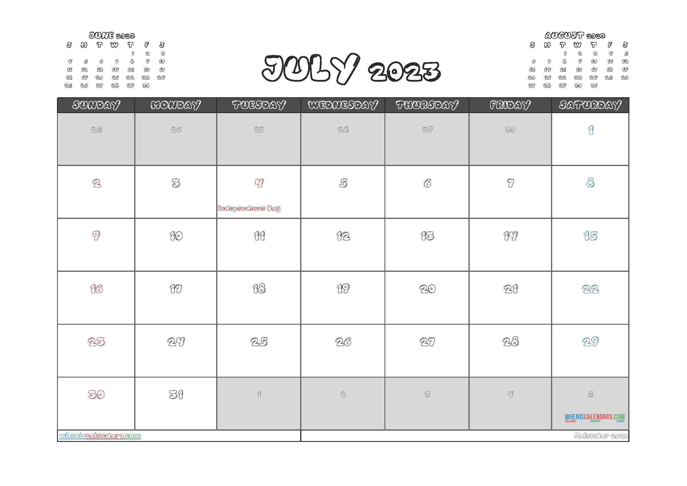 Free Printable Calendar July 2023