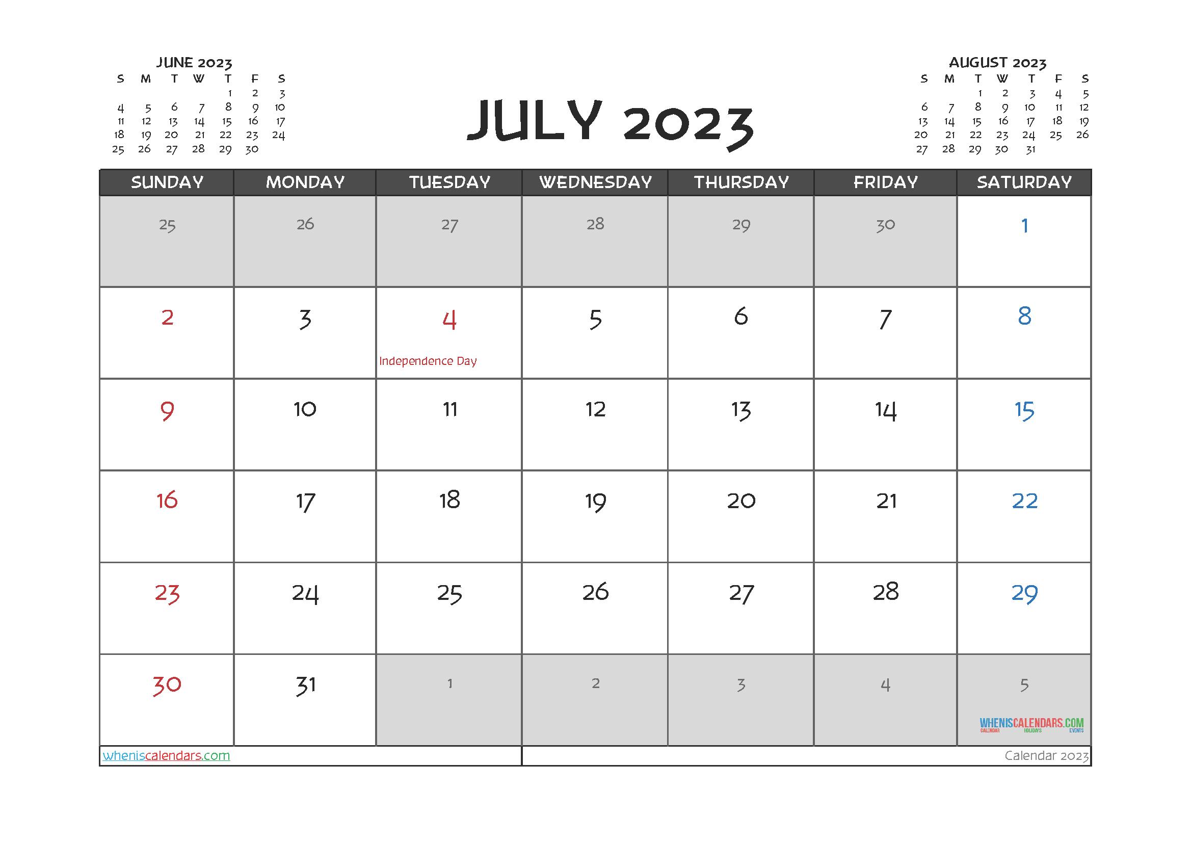 July 2023 Calendar Printable For Free