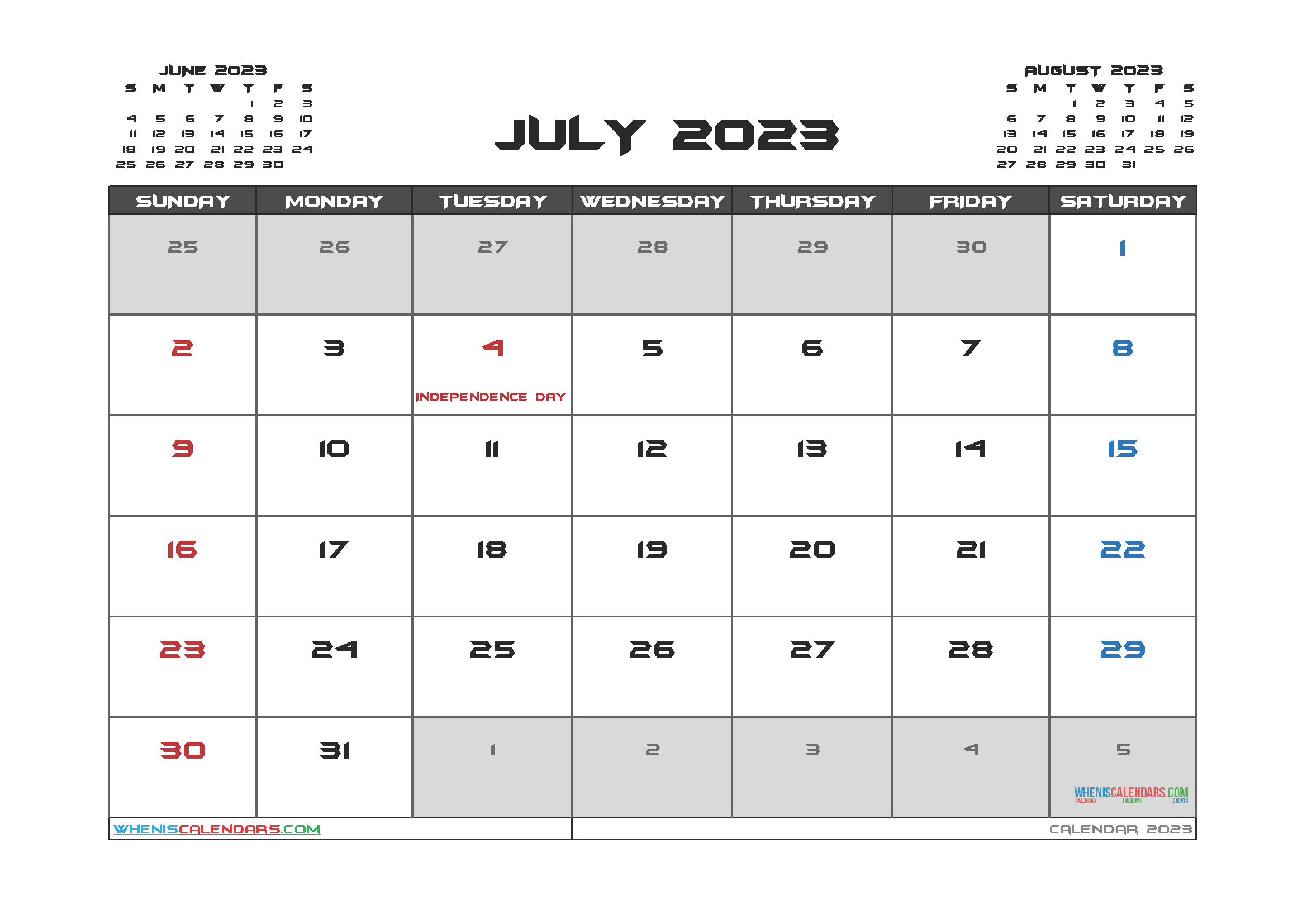 Printable July 2023 Calendar PDF