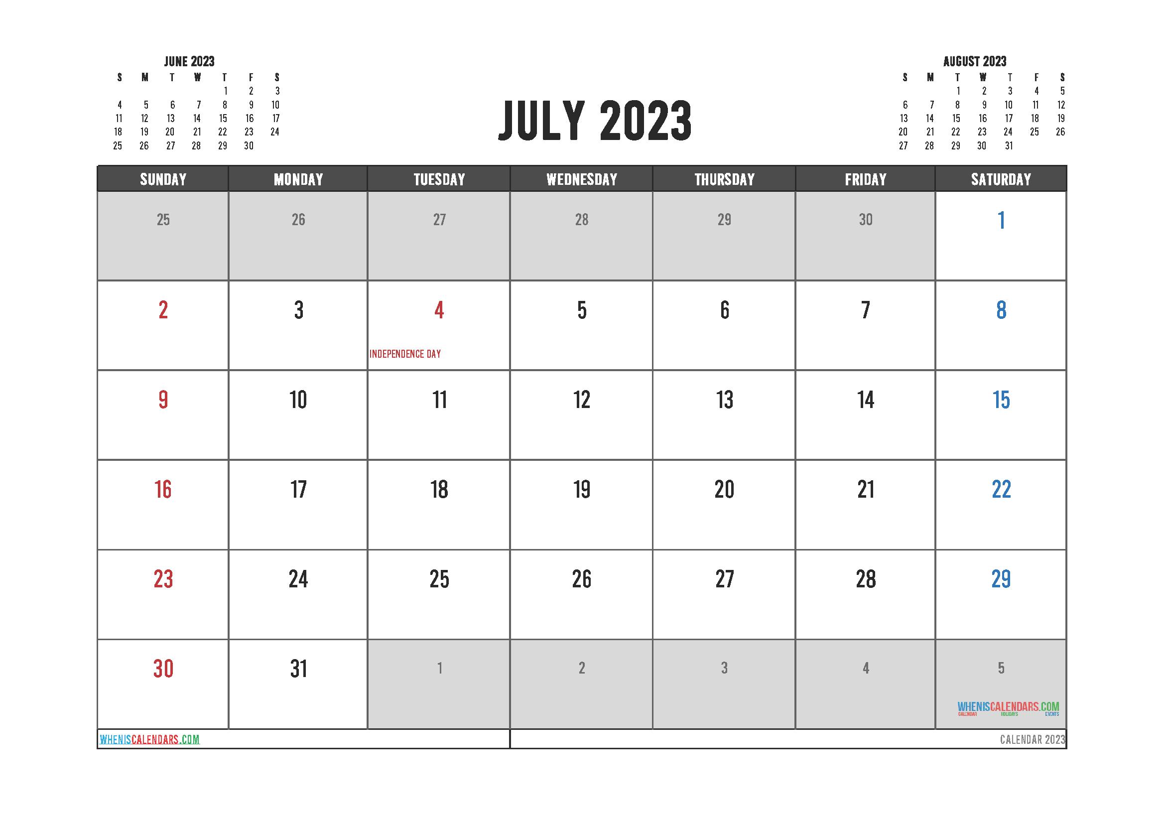 Editable Printable July 2023 Calendar