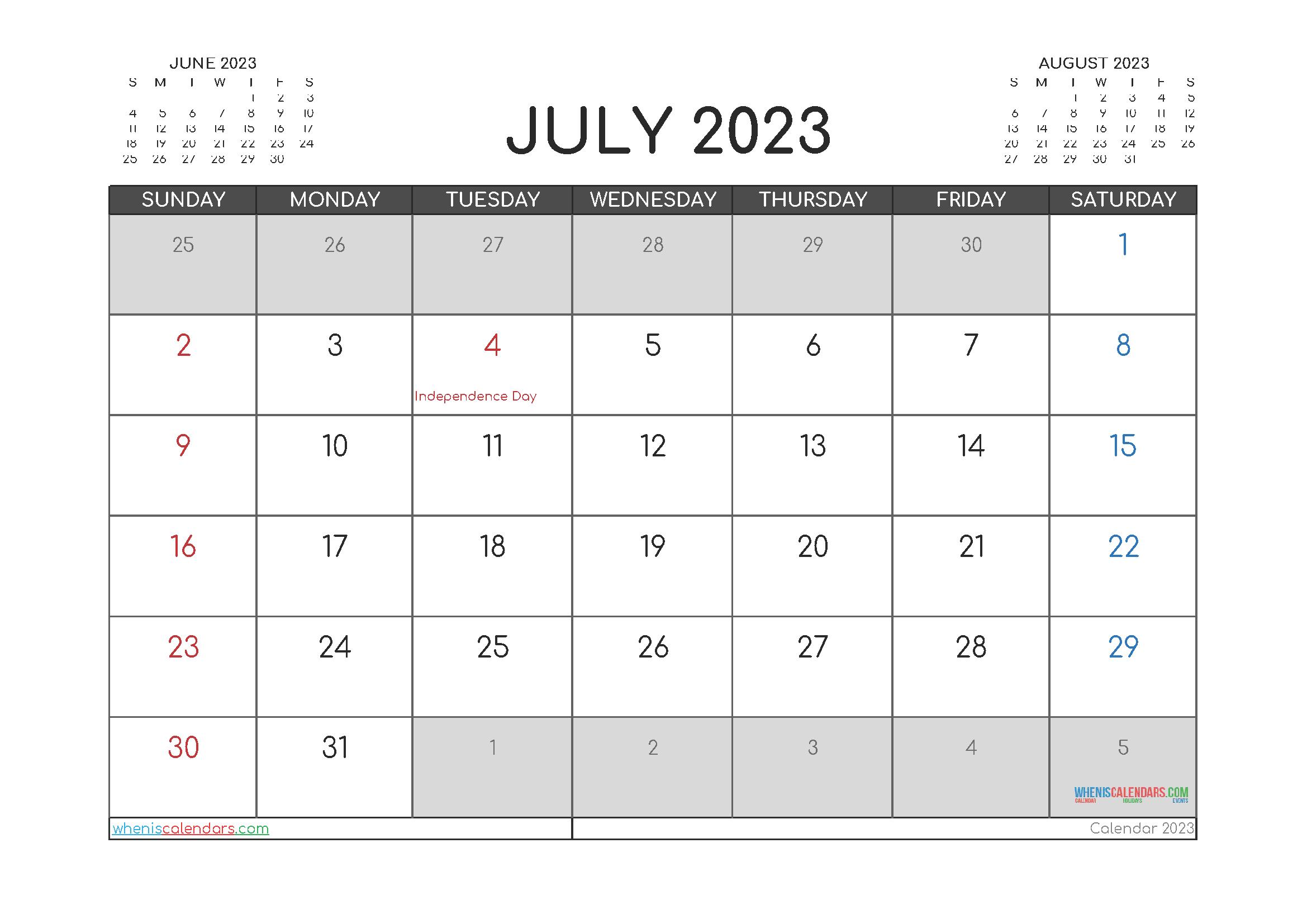 Free Printable July 2023 Calendar