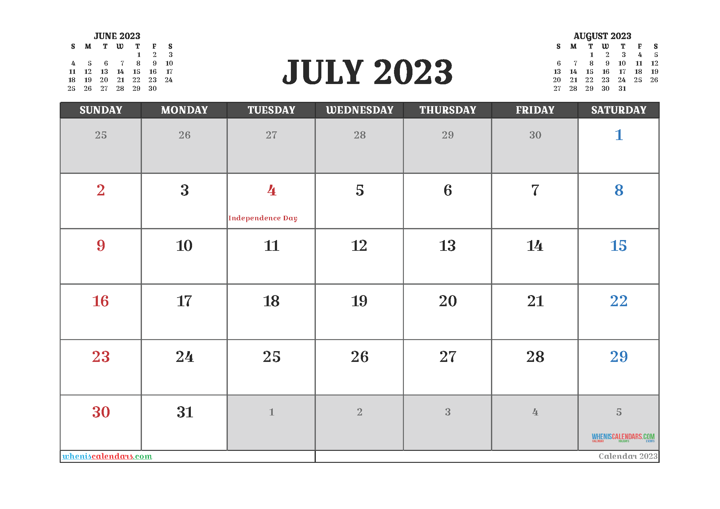Editable July 2023 Calendar Printable