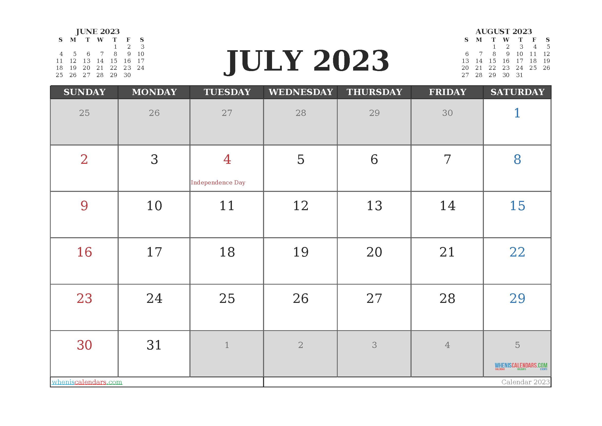 July 2023 Free Calendar Printable