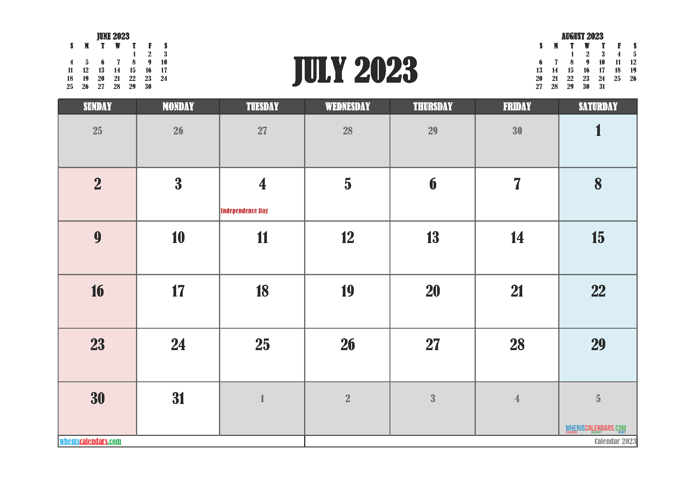 July 2023 Calendar Printable For Free