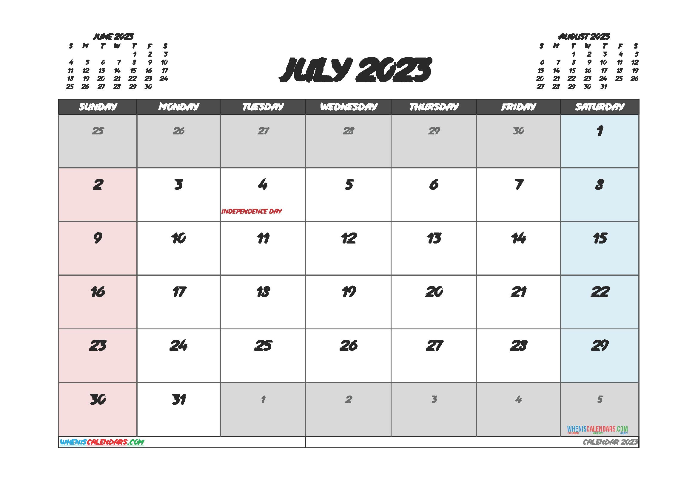 Free July 2023 Printable Calendar PDF
