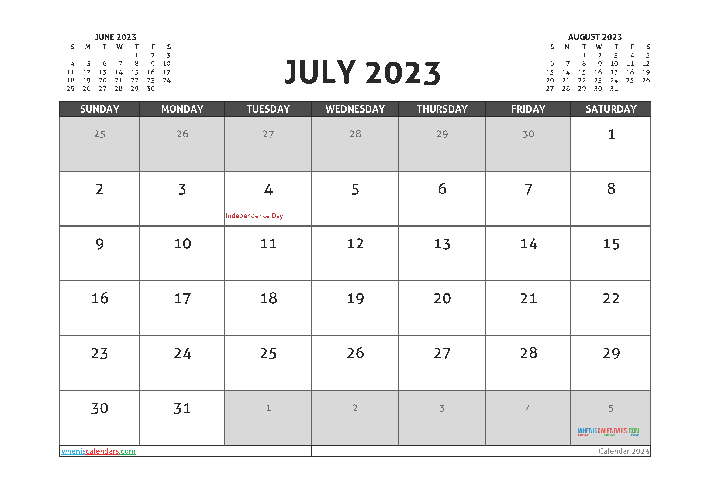 Free July 2023 Printable Calendar