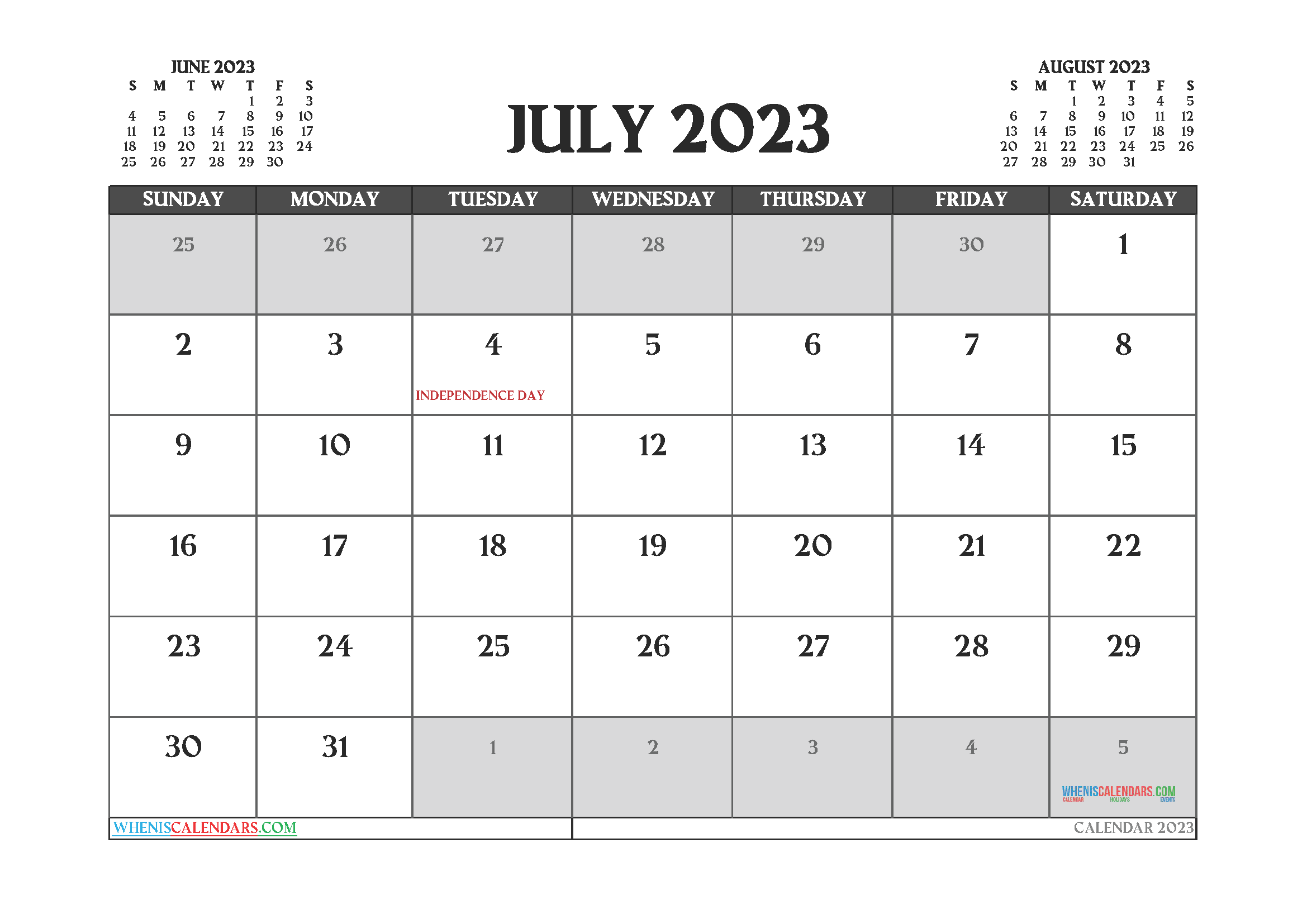 July 2023 Calendar Printable Free