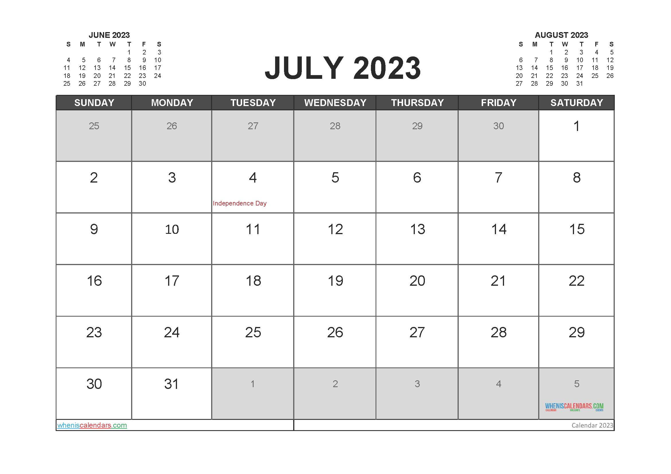 Printable Calendar July 2023 Free