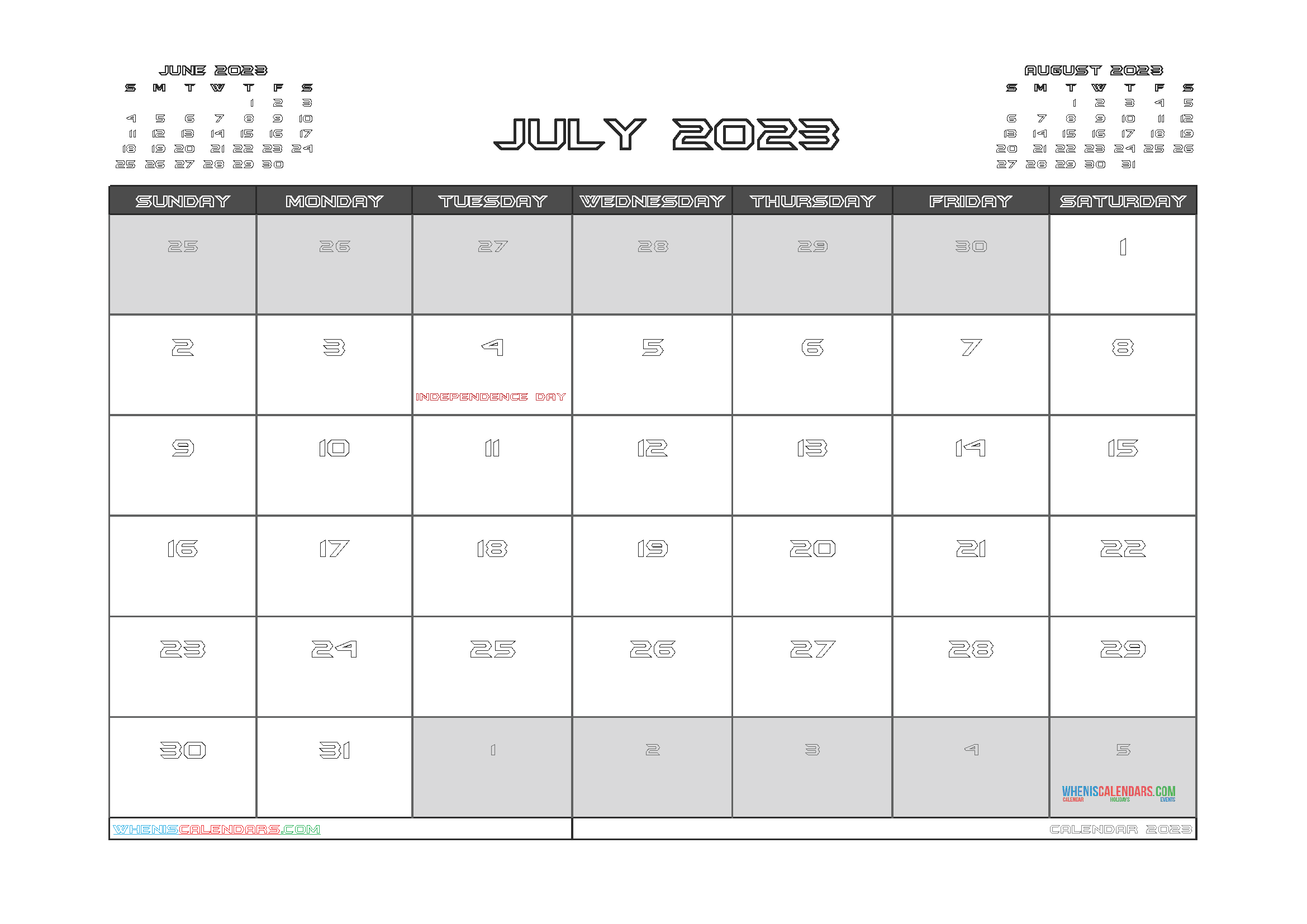 Free Editable Calendar July 2023 PDF